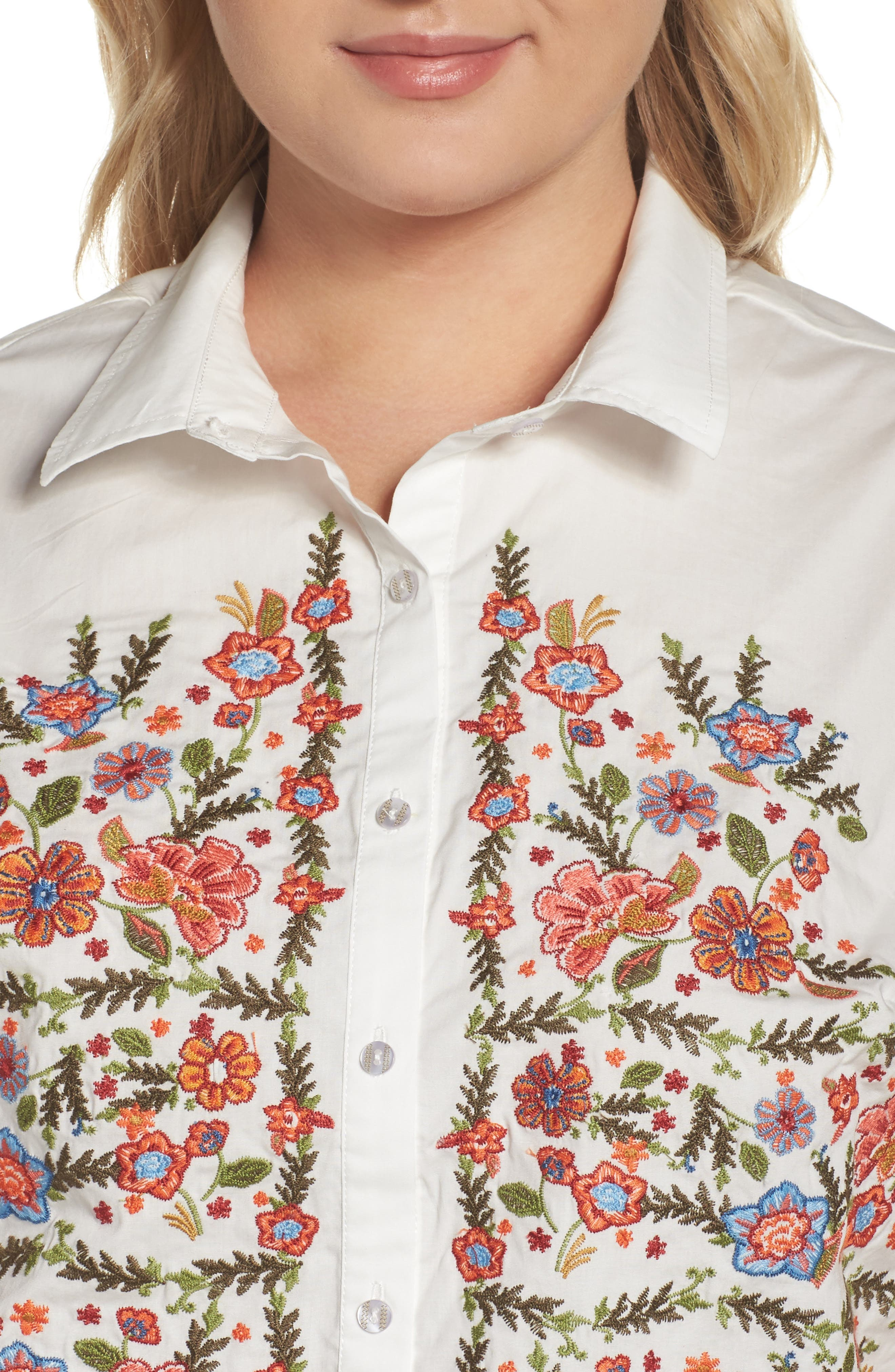 Embroidered Stretch Cotton Shirt,                             Alternate thumbnail 4, color,                             107