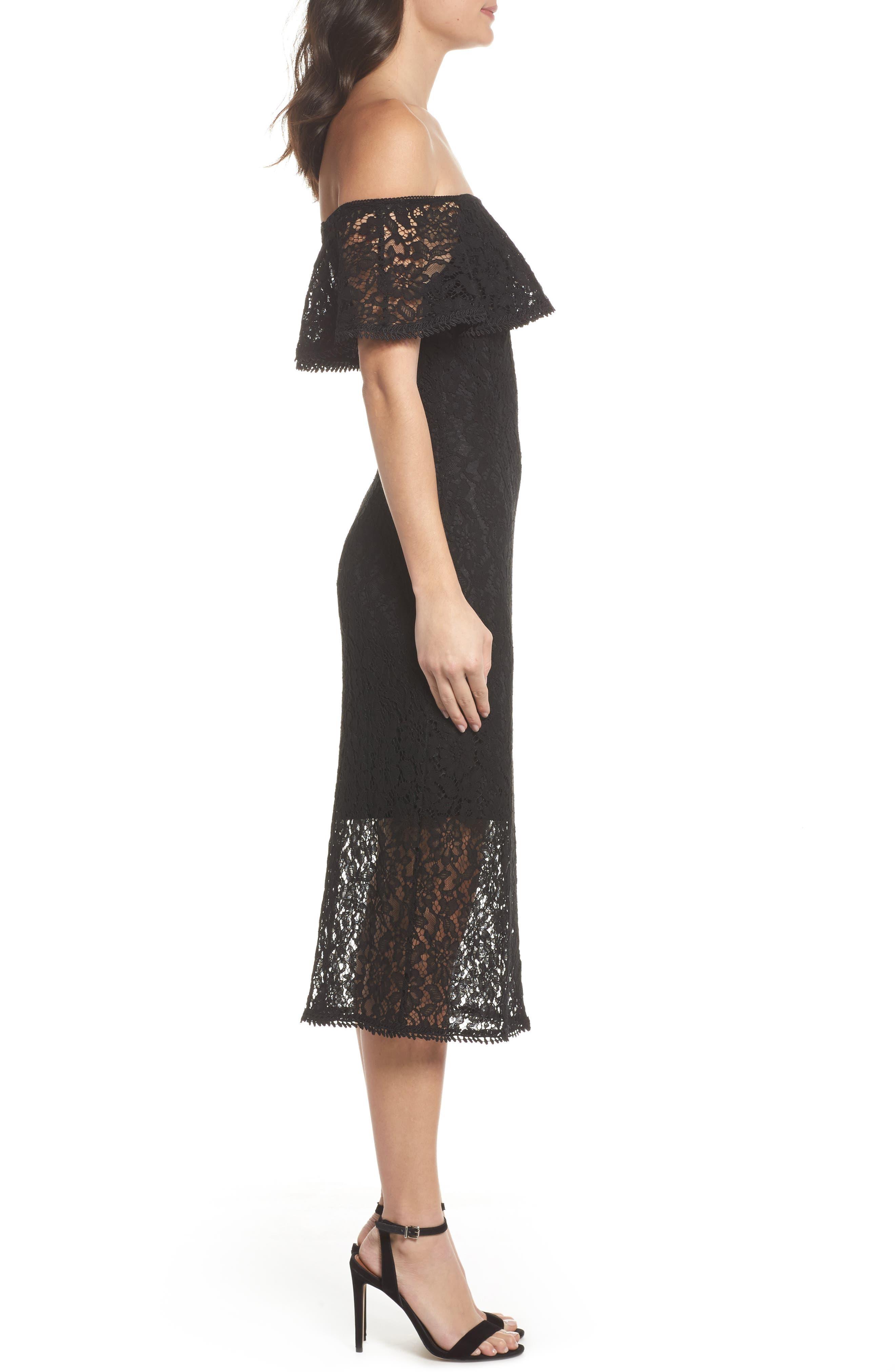 Lace Off the Shoulder Midi Dress,                             Alternate thumbnail 3, color,                             001