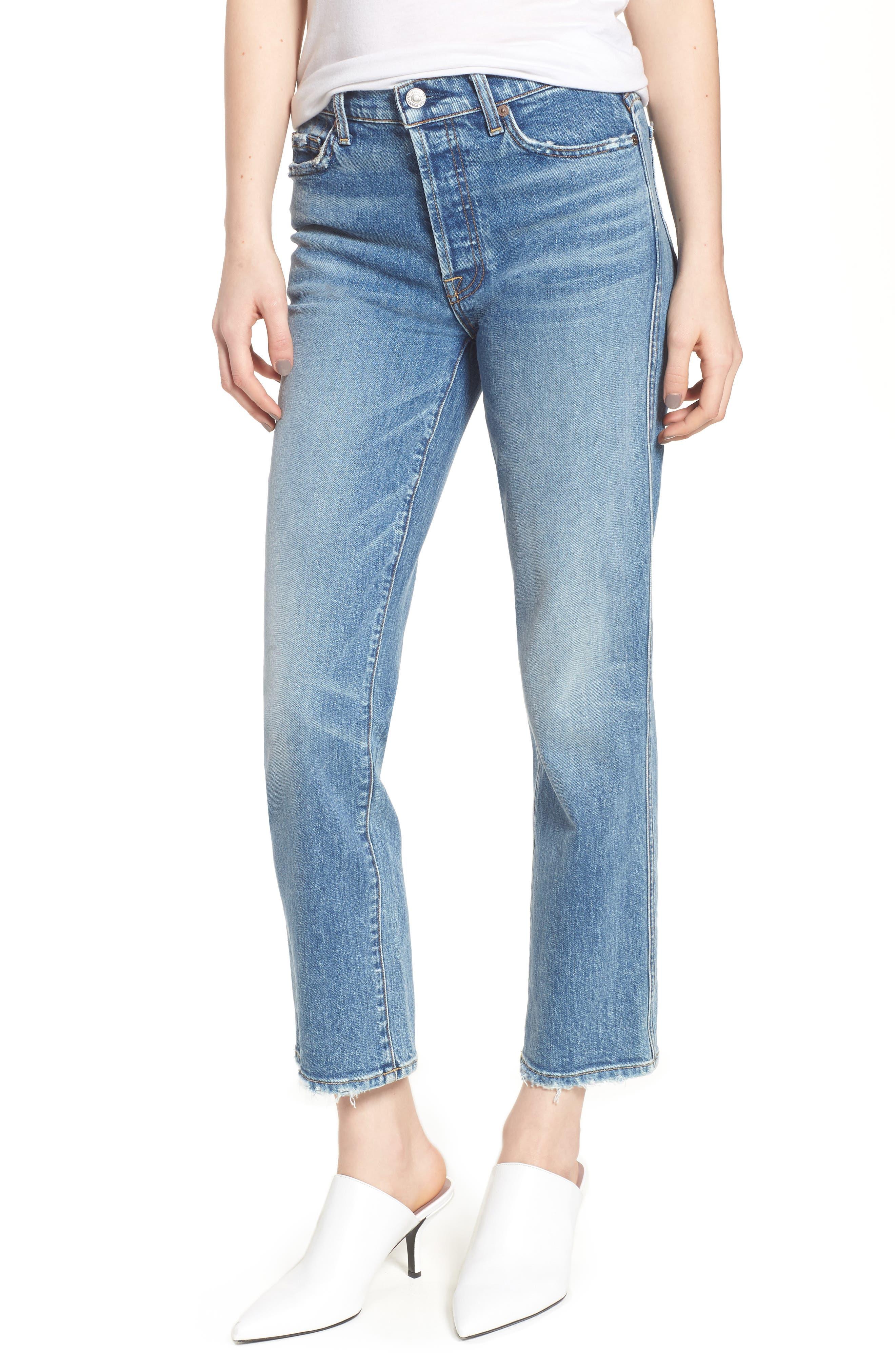 Edie High Waist Crop Straight Leg Jeans,                             Main thumbnail 6, color,