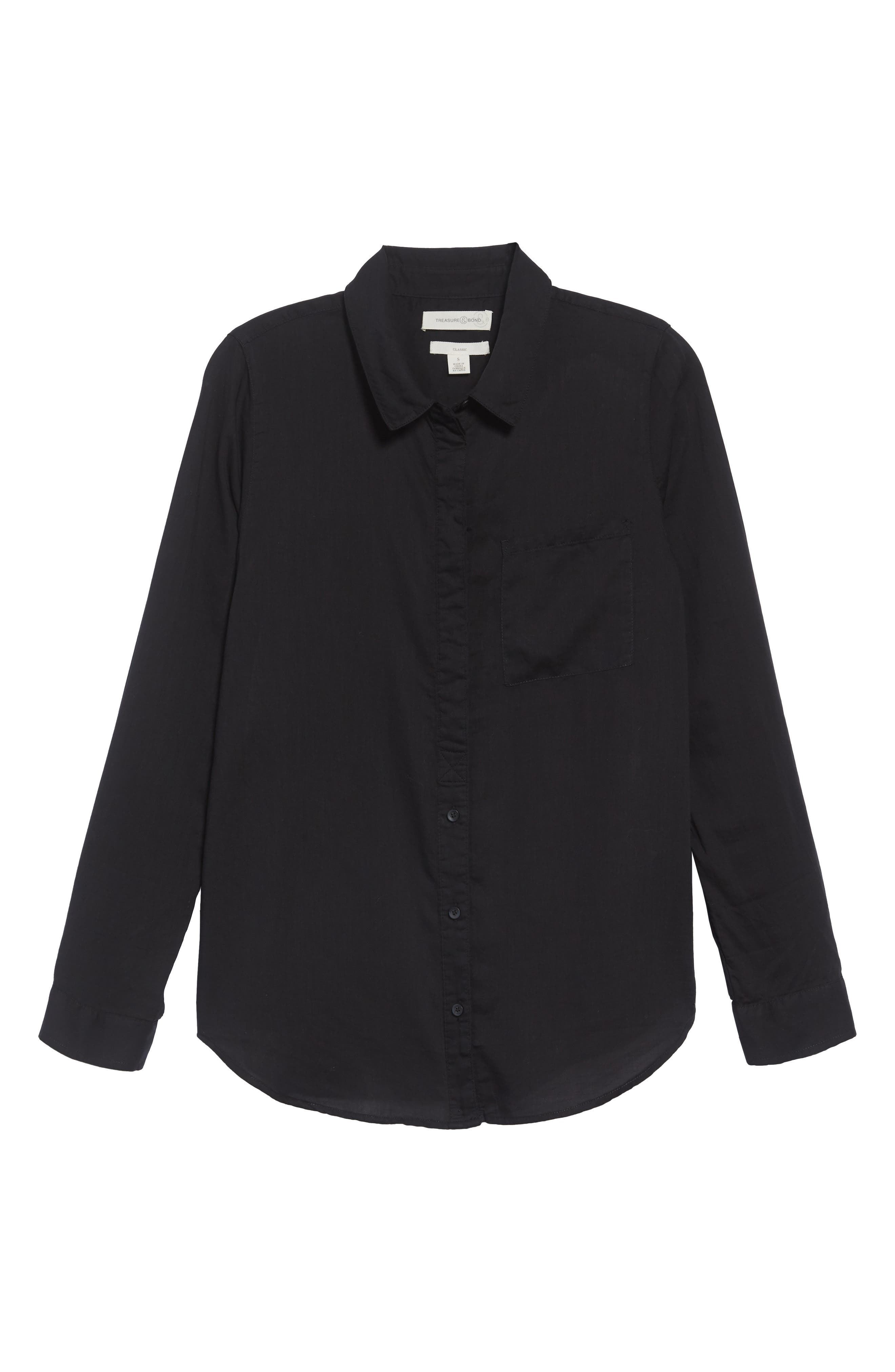 Drapey Classic Shirt,                         Main,                         color, BLACK