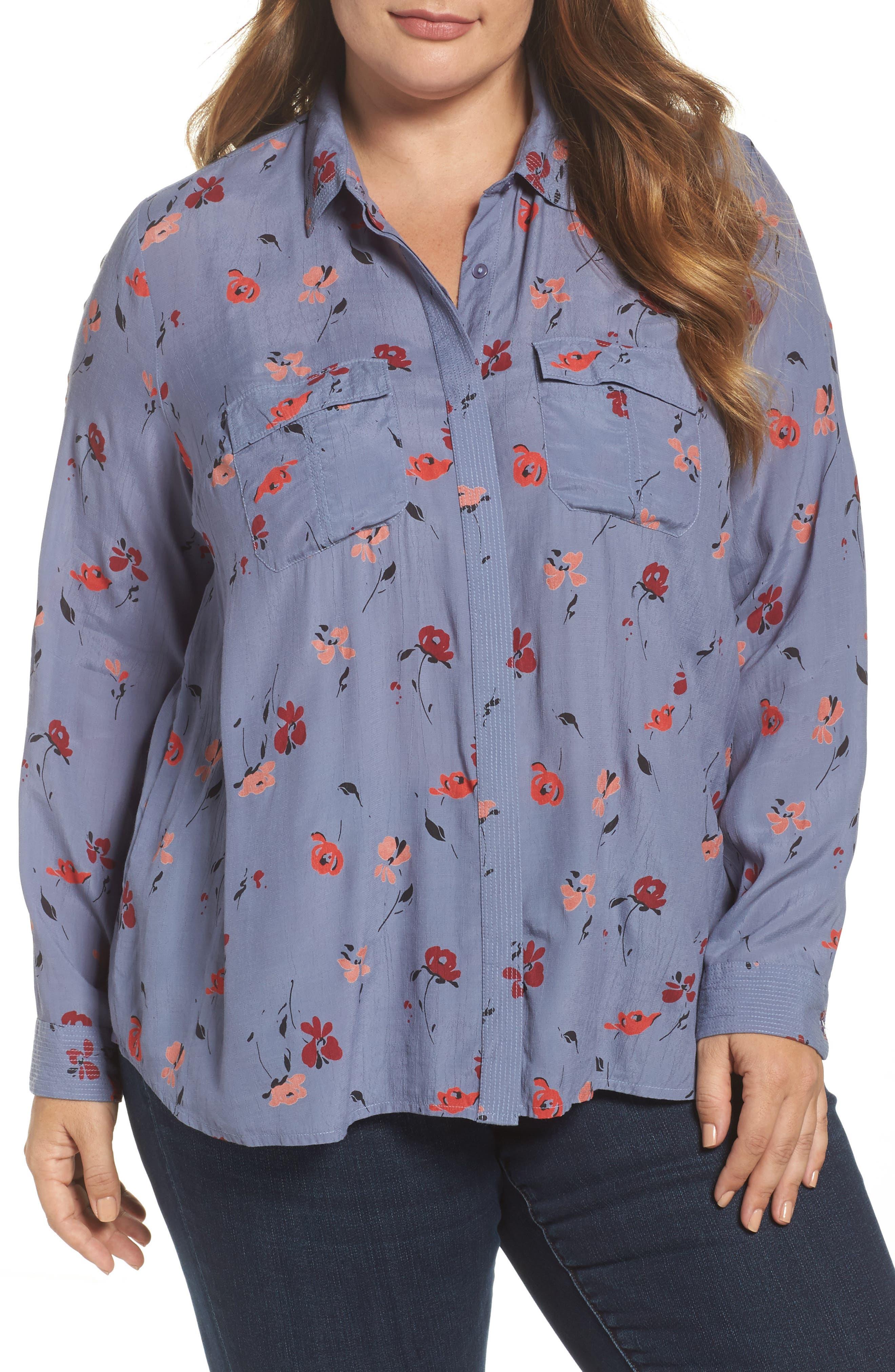 Floral Print Button Down Shirt,                         Main,                         color, 020