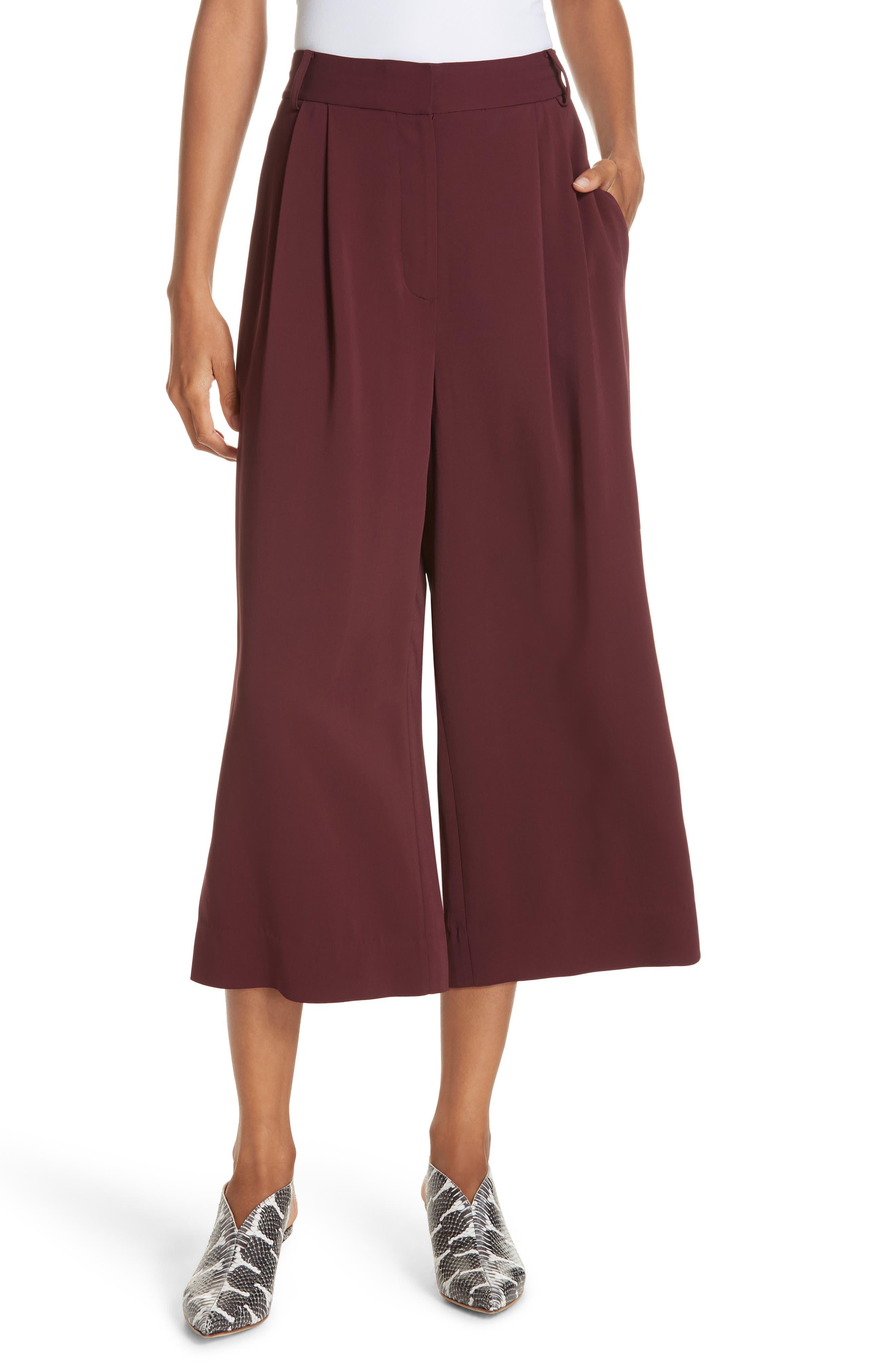 TIBI Stella Stretch Suiting Crop Pants, Main, color, DARK CURRANT