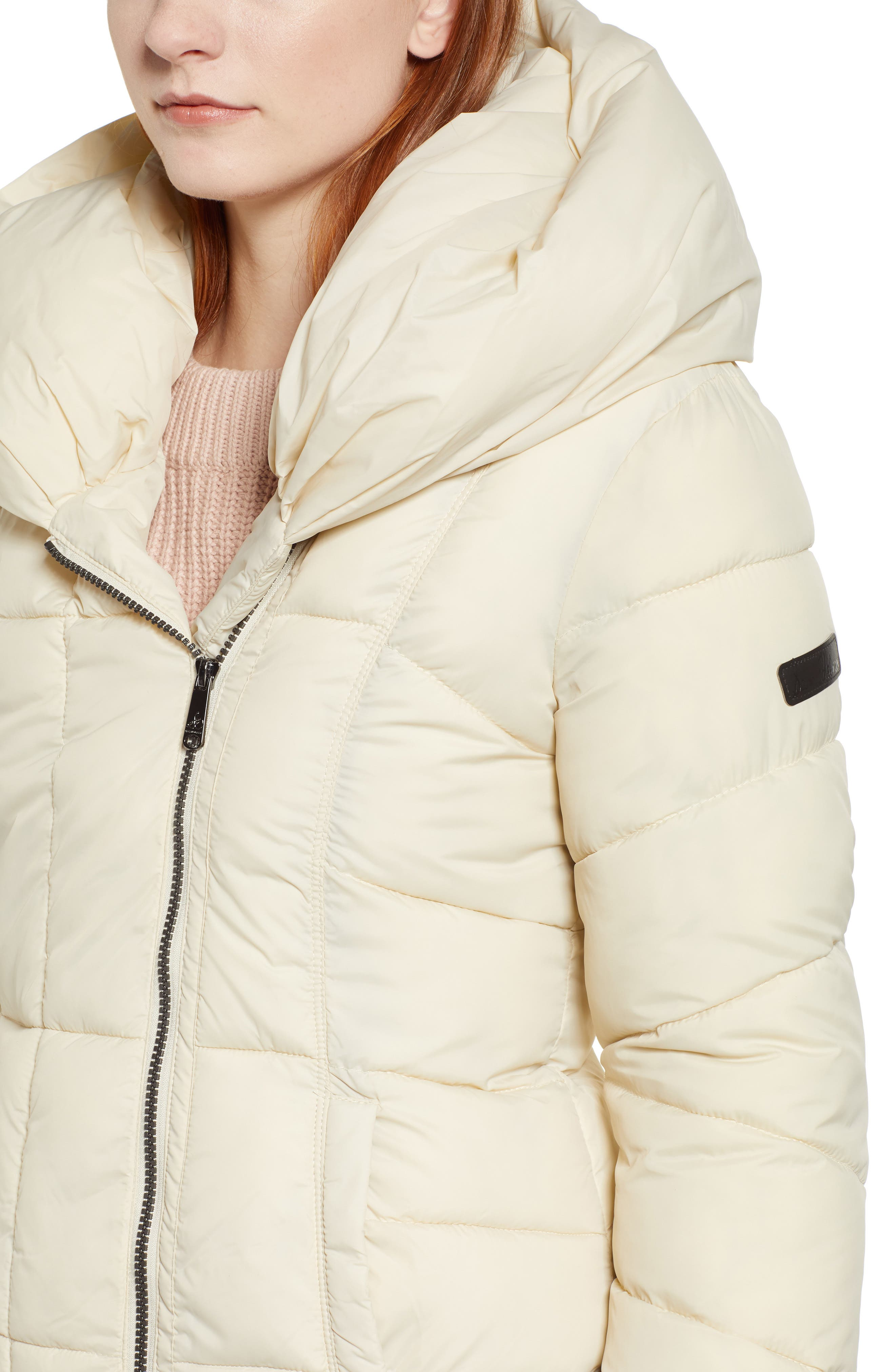 Pillow Collar Puffer Coat,                             Alternate thumbnail 4, color,                             IVORY