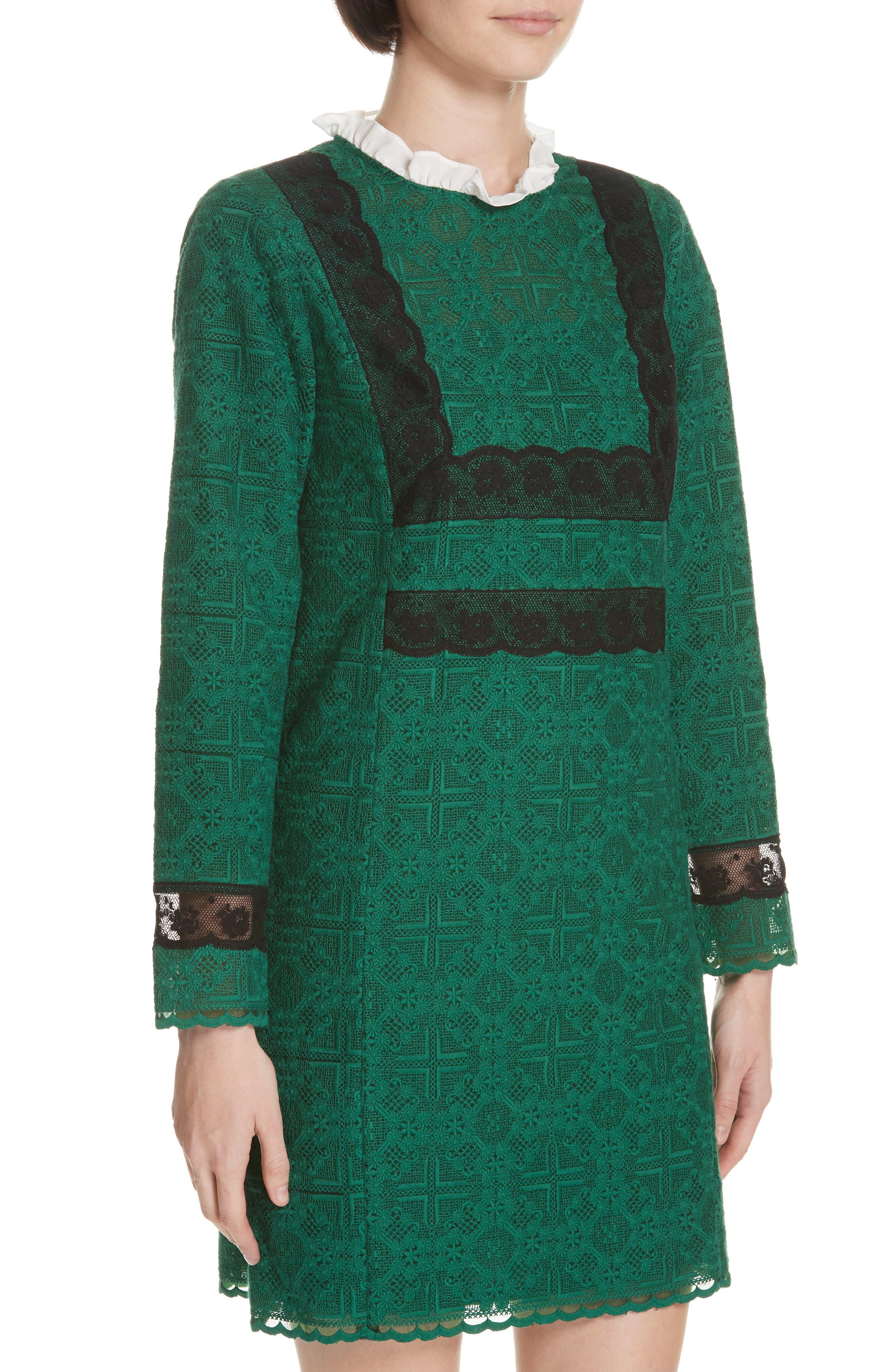 Dylan Frill Neck Lace Dress,                             Alternate thumbnail 4, color,                             VERT