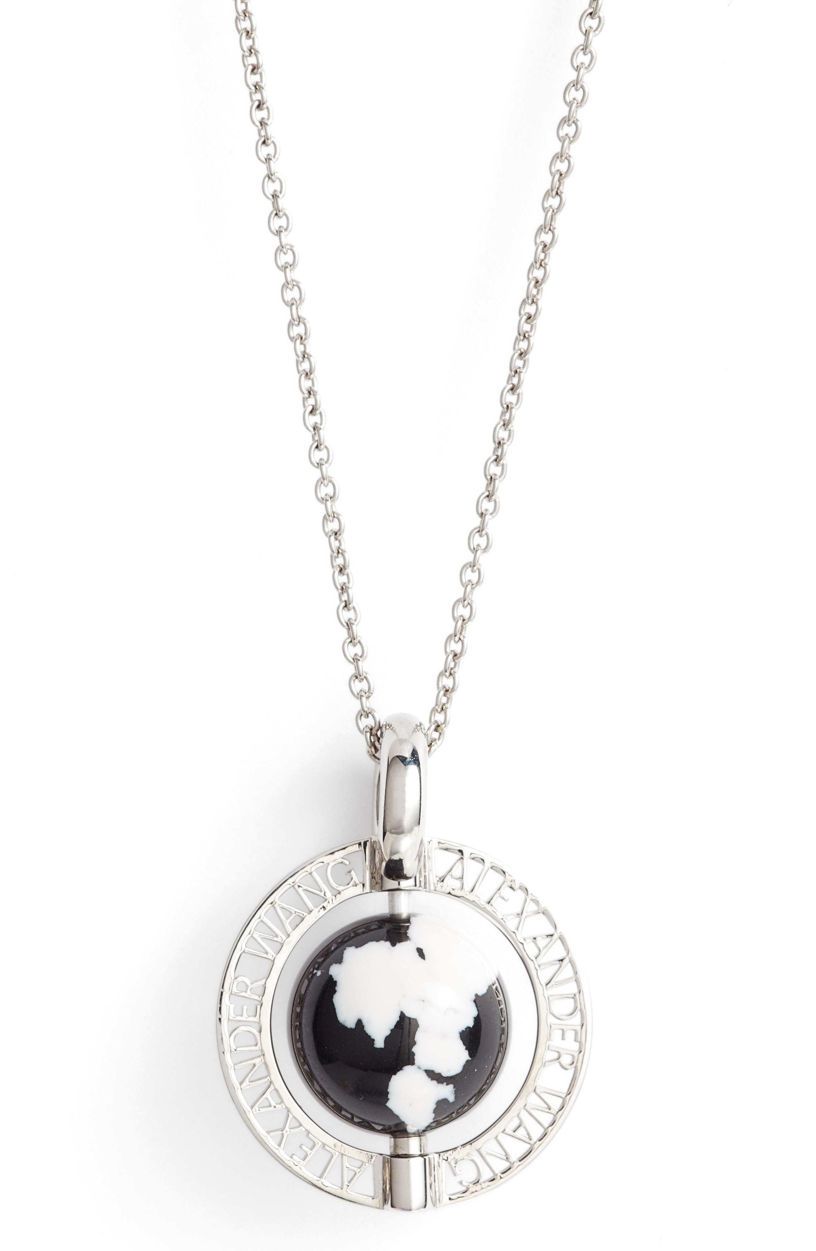 Long Globe Pendant Necklace,                             Alternate thumbnail 2, color,