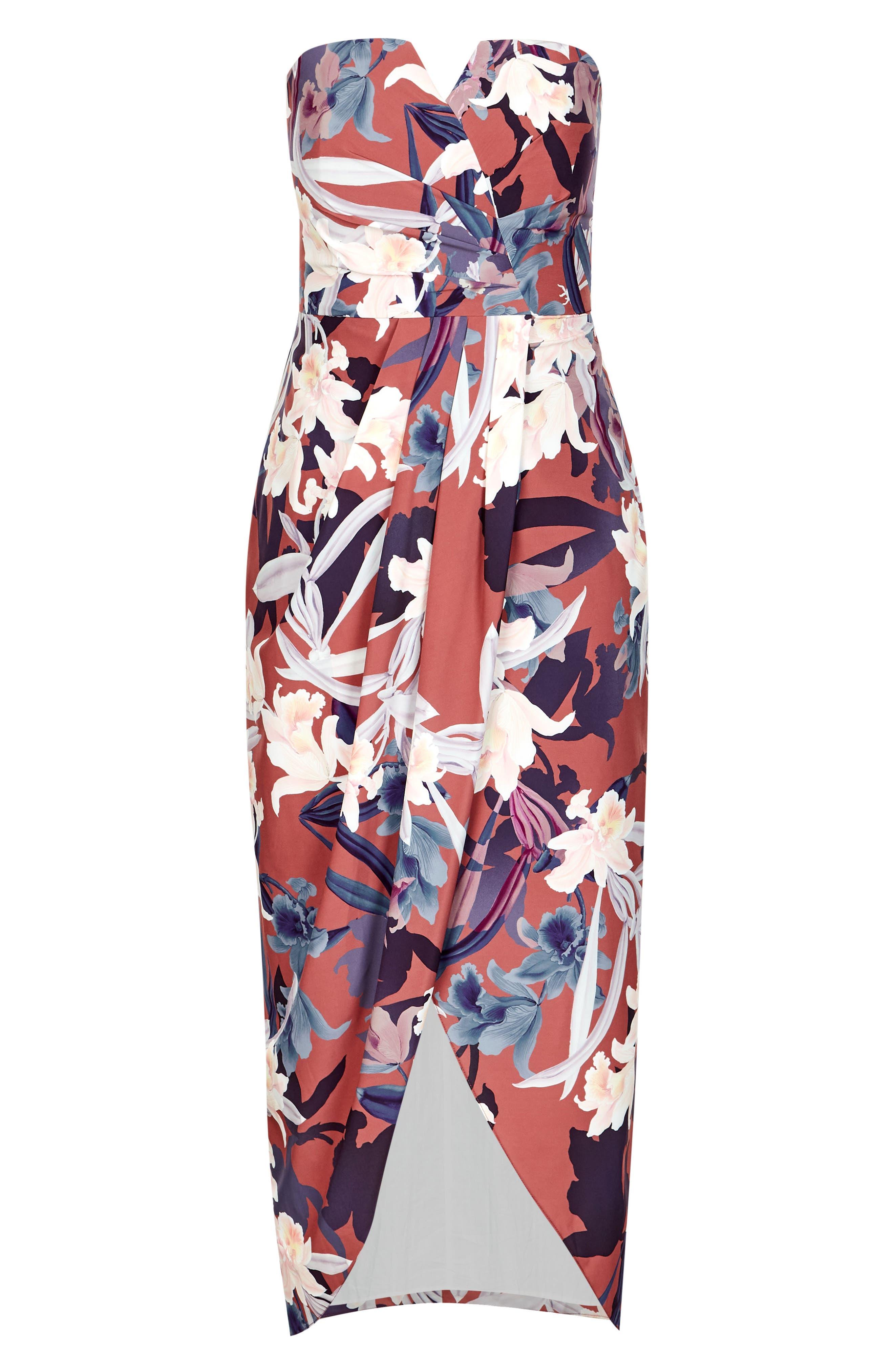 CITY CHIC,                             Lavish Floral Strapless Dress,                             Alternate thumbnail 3, color,                             200