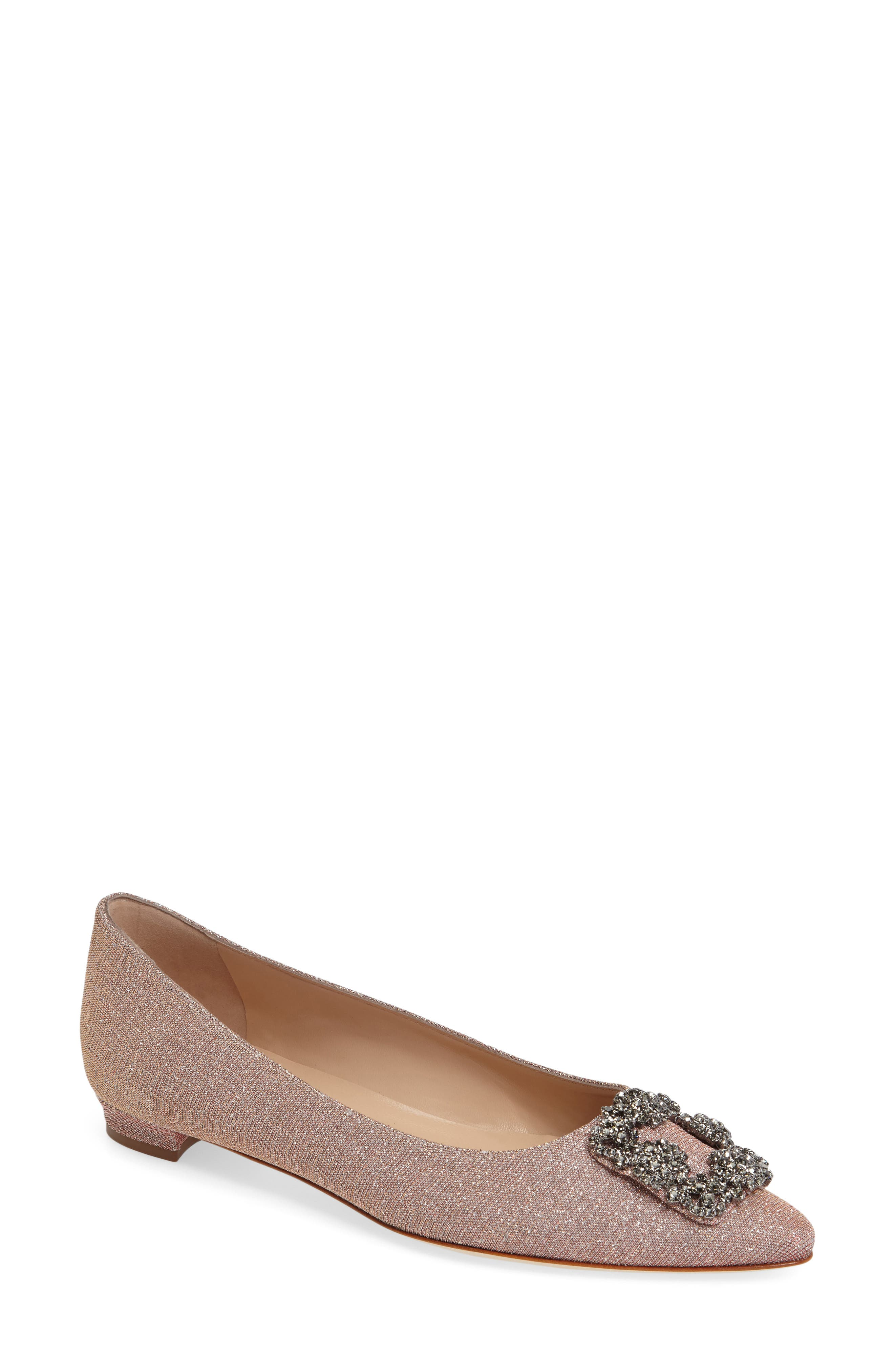 MANOLO BLAHNIK,                             'Hangisi' Jeweled Pointy Toe Flat,                             Main thumbnail 1, color,                             CHAMPAGNE FABRIC