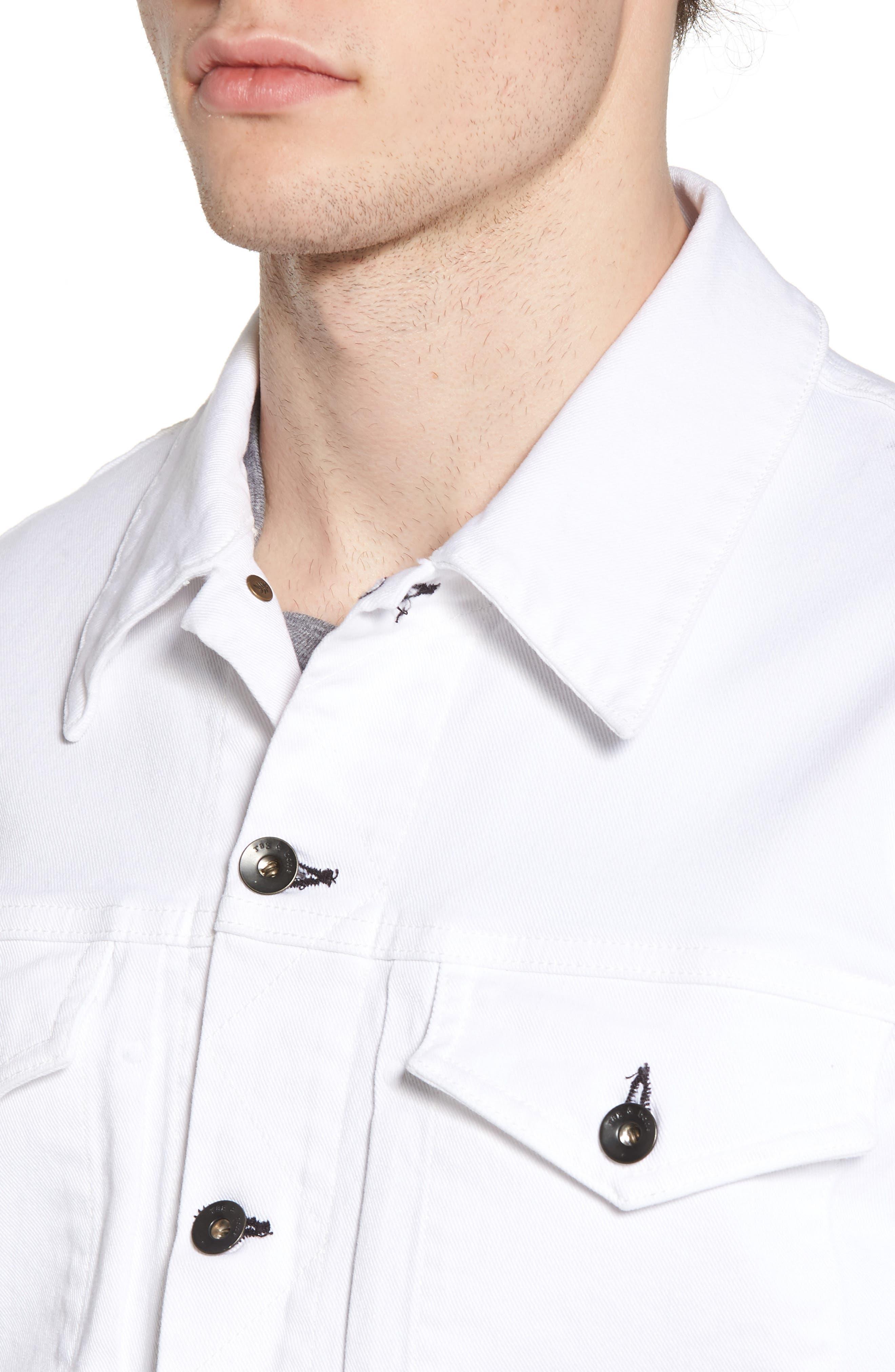 Denim Jacket,                             Alternate thumbnail 4, color,                             WHITE