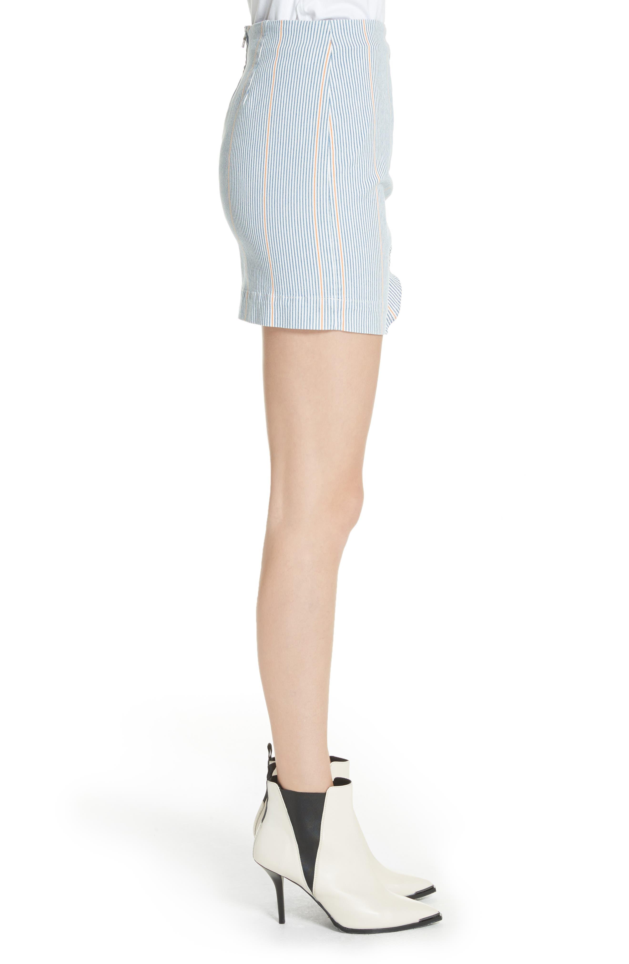 Jane Stripe Ruffle Detail Skirt,                             Alternate thumbnail 3, color,                             NILLIE SKIRT