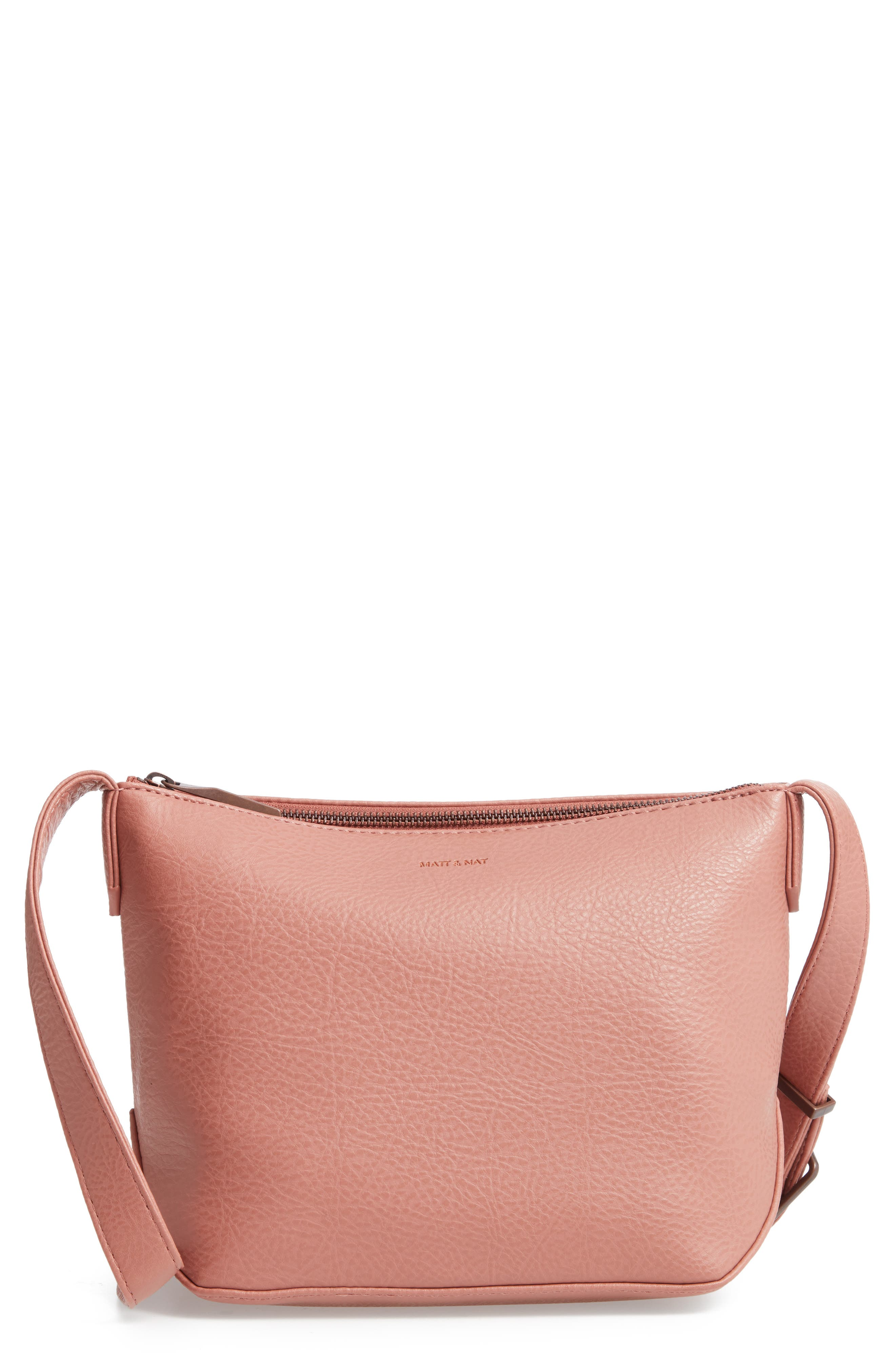 MATT & NAT Large Sam Faux Leather Crossbody Bag - Pink in Clay