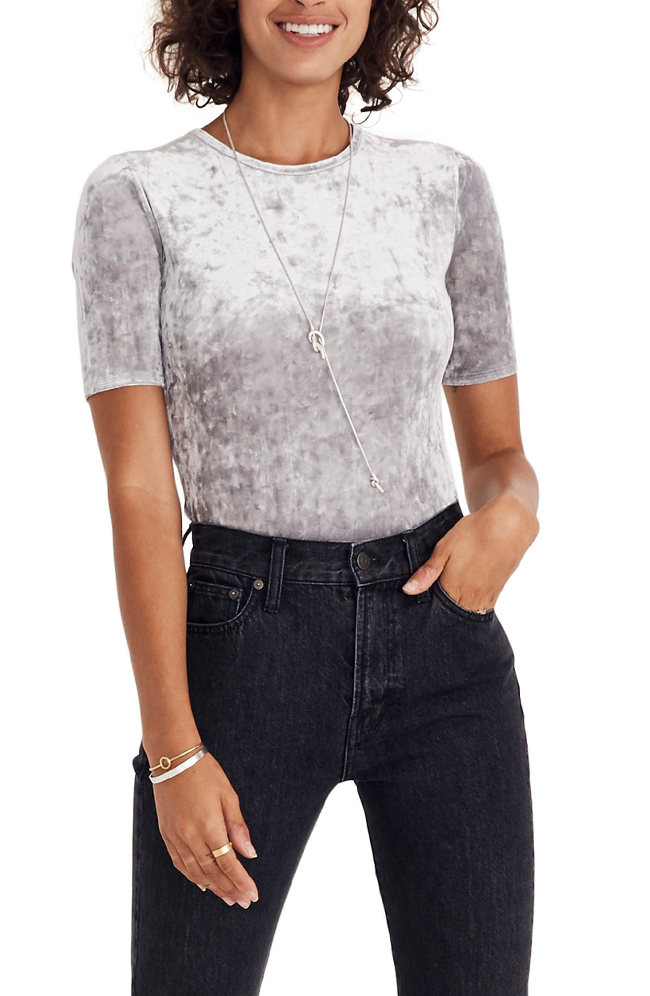 Crushed Velvet Short Sleeve Bodysuit,                         Main,                         color, STONEWALL