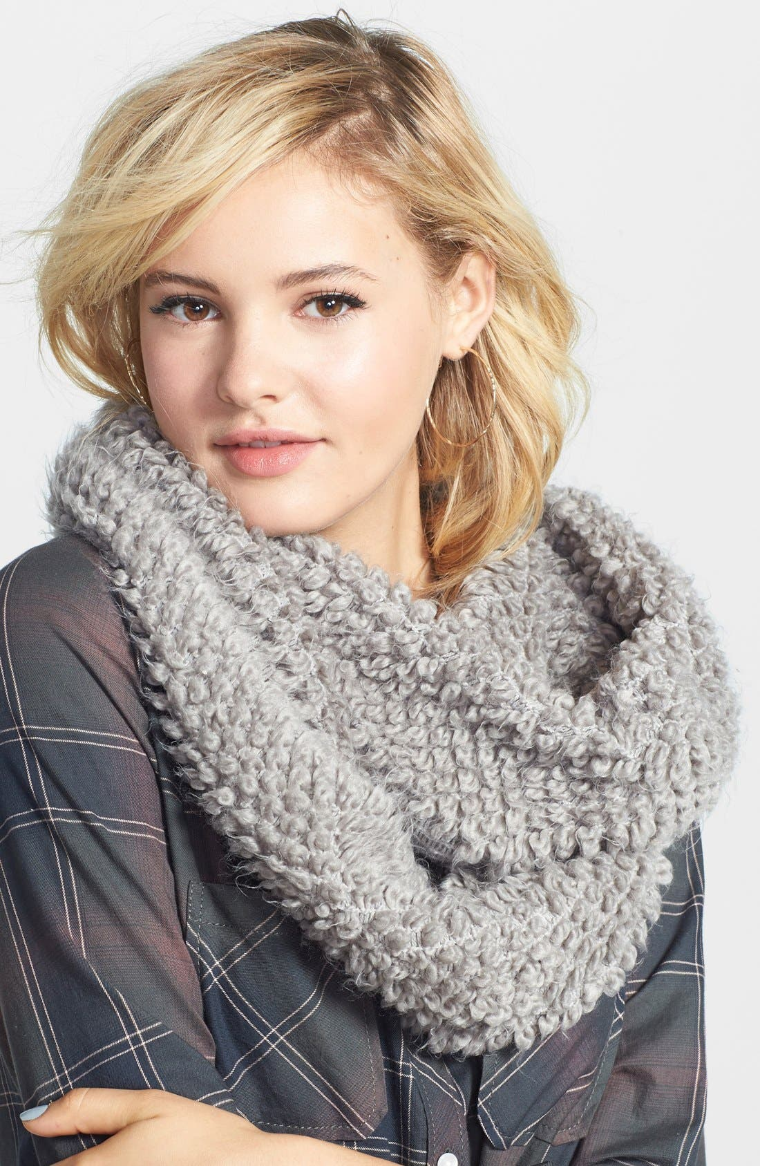 Popcorn Stitch Infinity Scarf,                             Main thumbnail 1, color,                             020