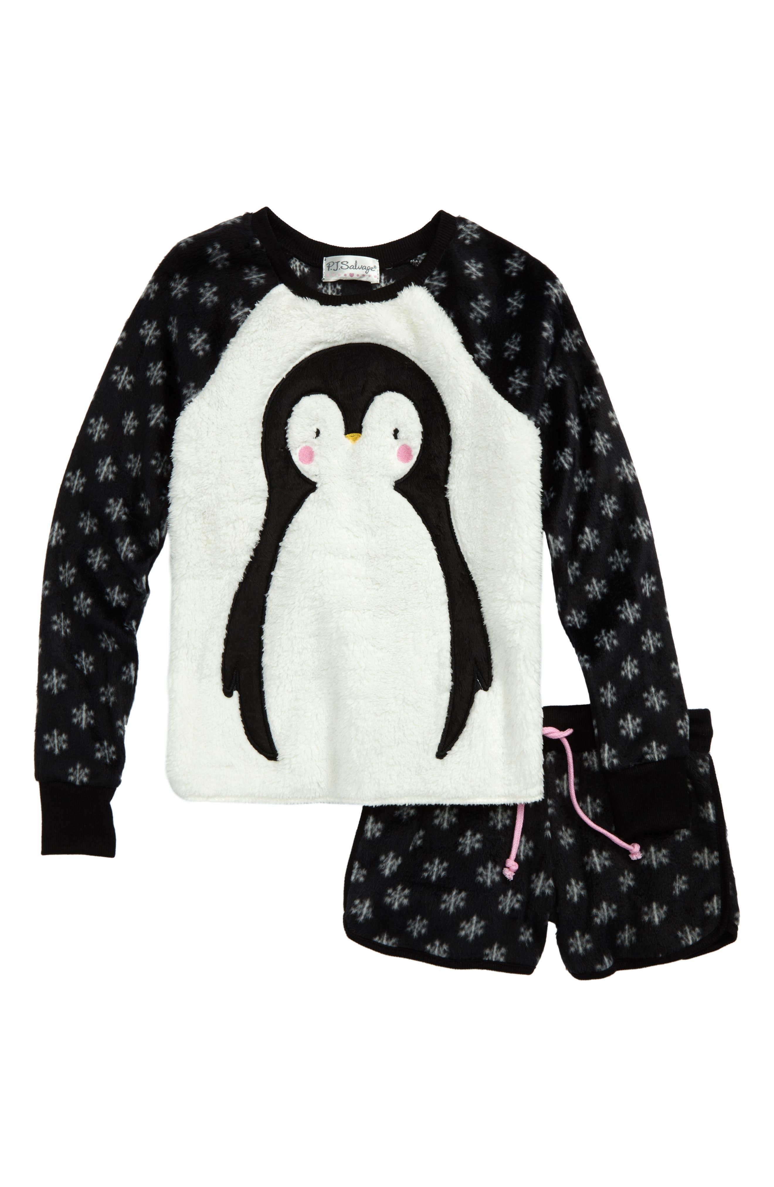 PJ SALVAGE,                             Appliqué Two-Piece Pajamas,                             Main thumbnail 1, color,                             001