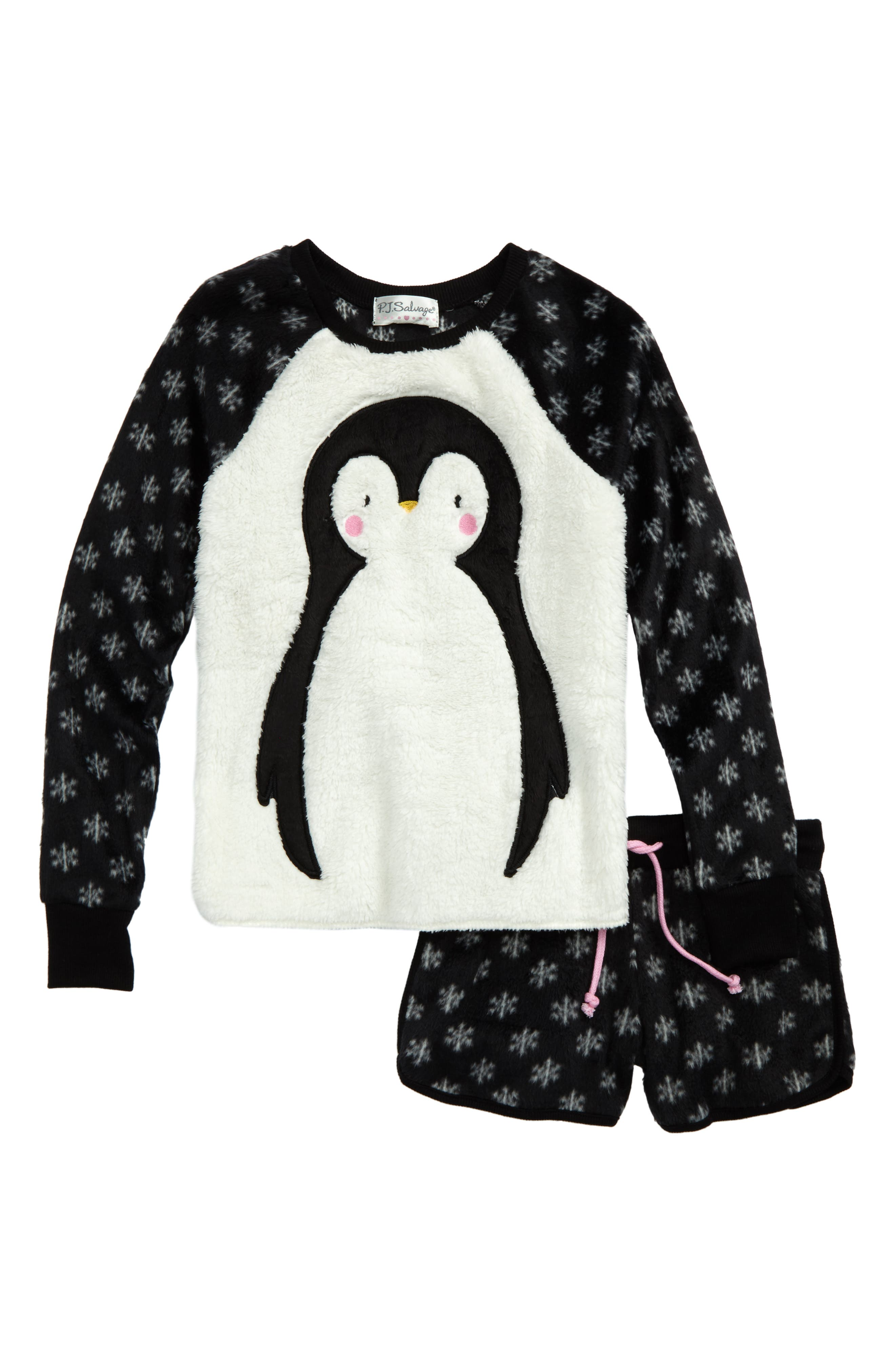 PJ SALVAGE Appliqué Two-Piece Pajamas, Main, color, 001