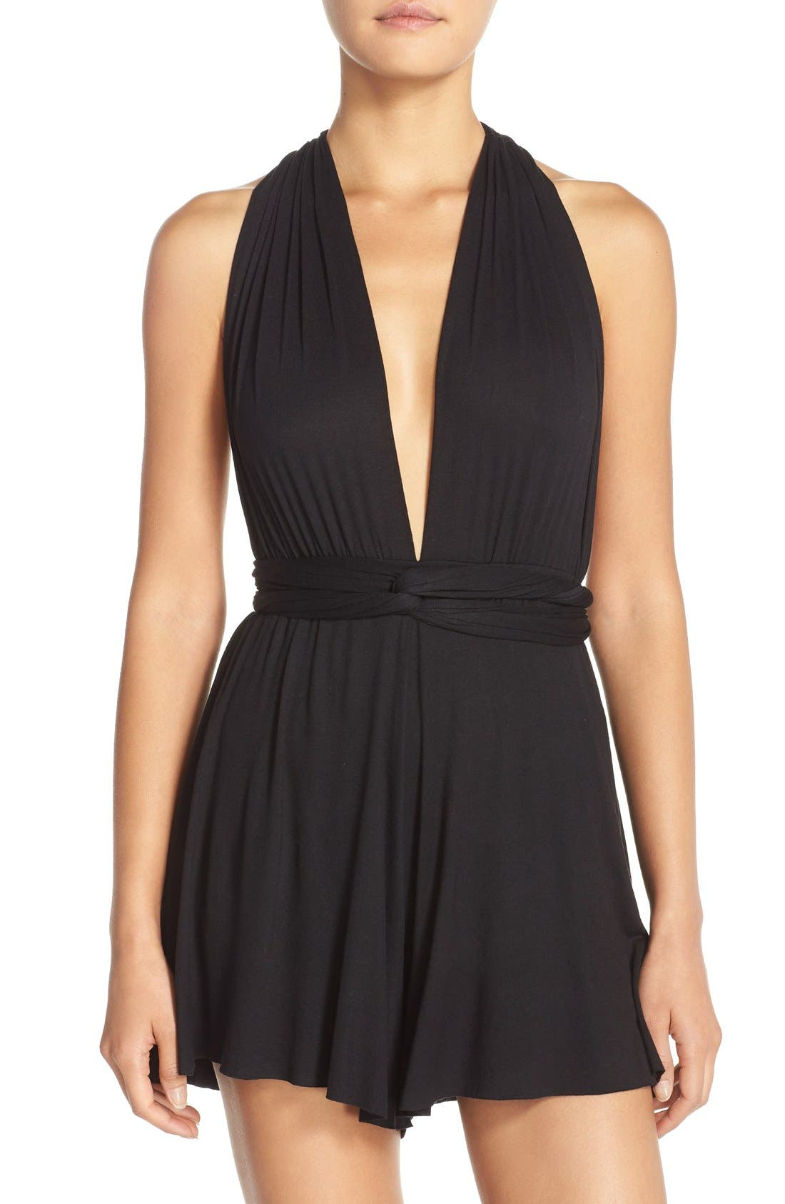 Convertible Cover-Up Romper,                             Main thumbnail 1, color,                             001