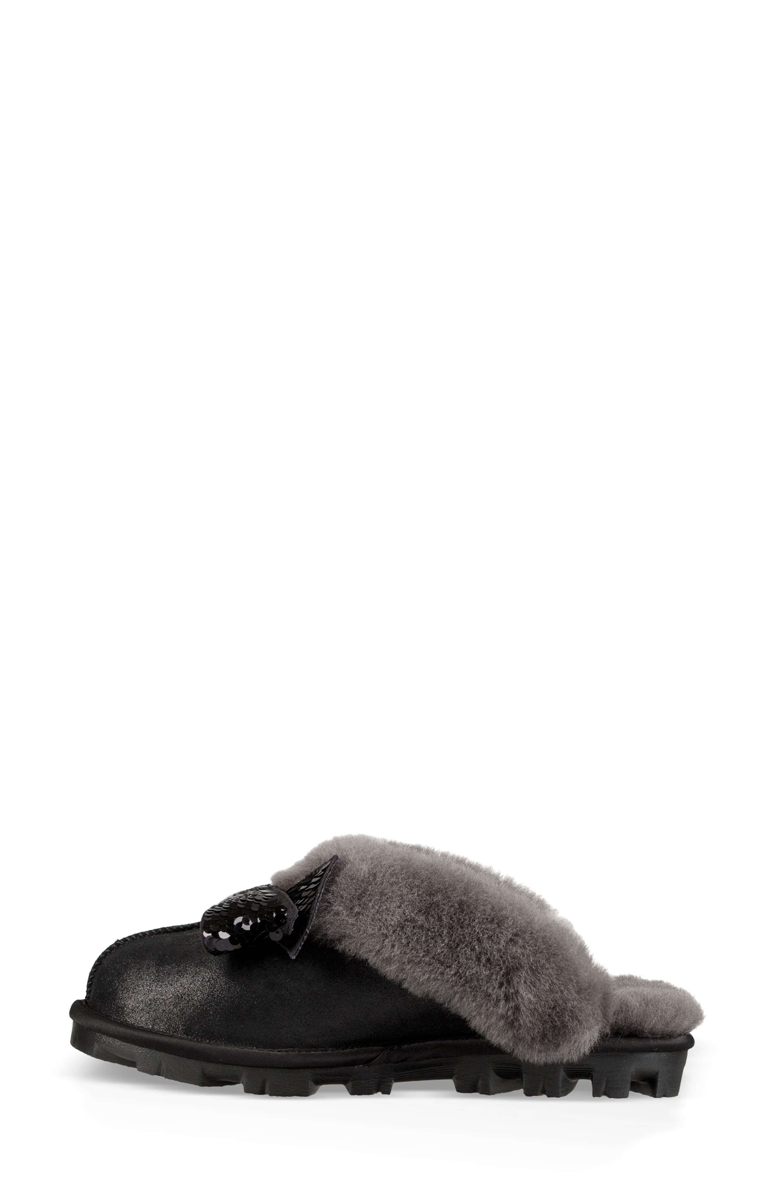 Genuine Shearling & Sequin Bow Slipper,                             Alternate thumbnail 6, color,                             BLACK