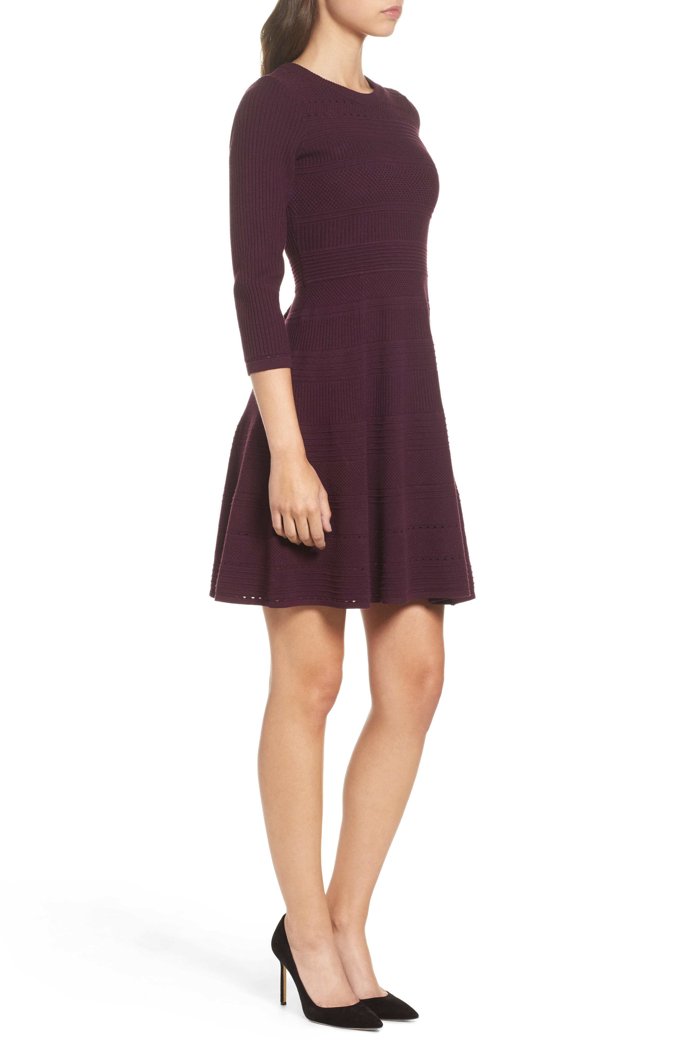 Fit & Flare Sweater Dress,                             Alternate thumbnail 12, color,