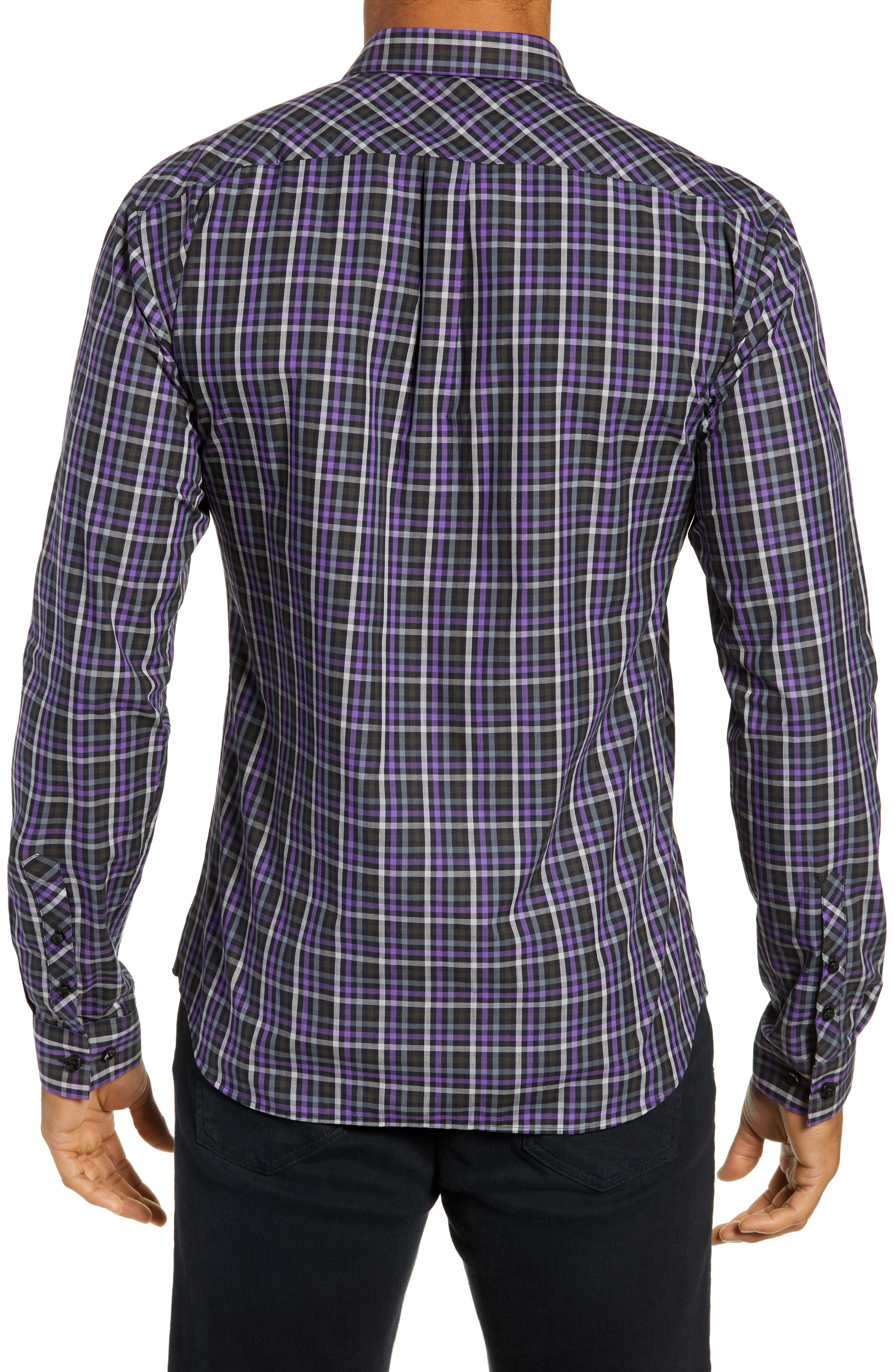 Trim Fit Sport Shirt,                             Alternate thumbnail 3, color,                             PURPLE - BLACK MULTI CHECK