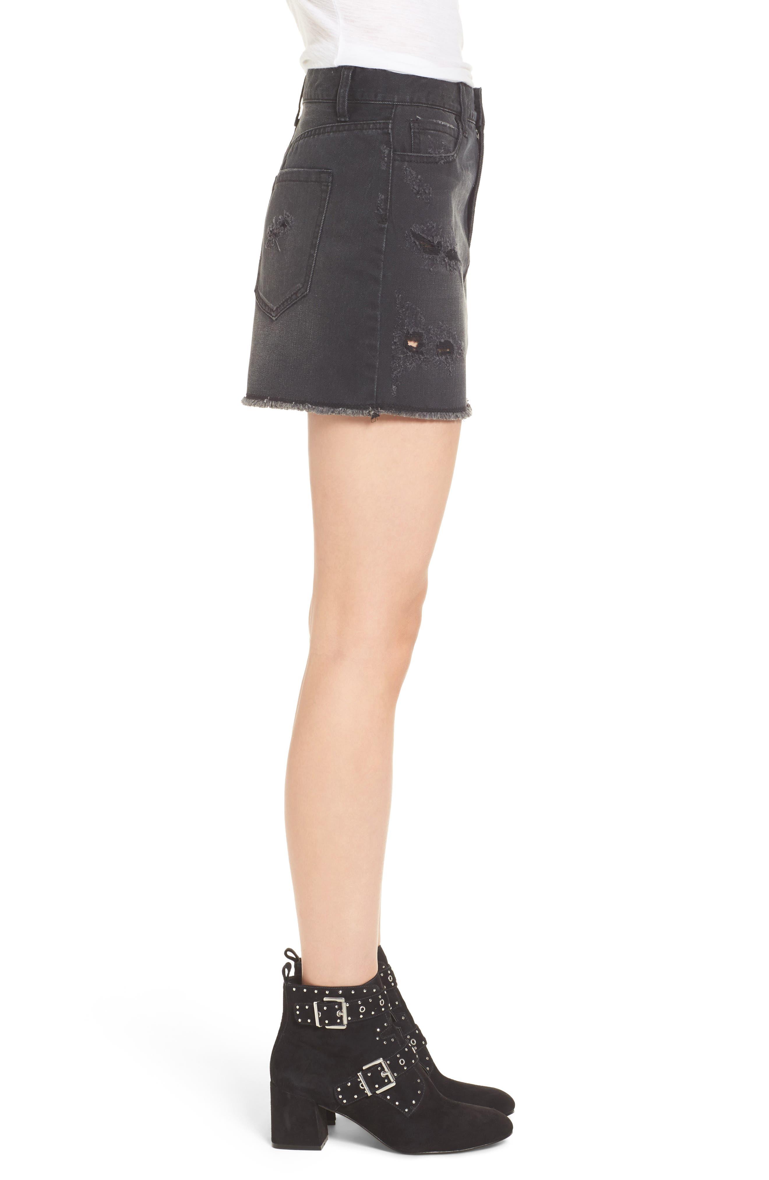 Destroyed Denim Miniskirt,                             Alternate thumbnail 3, color,                             001
