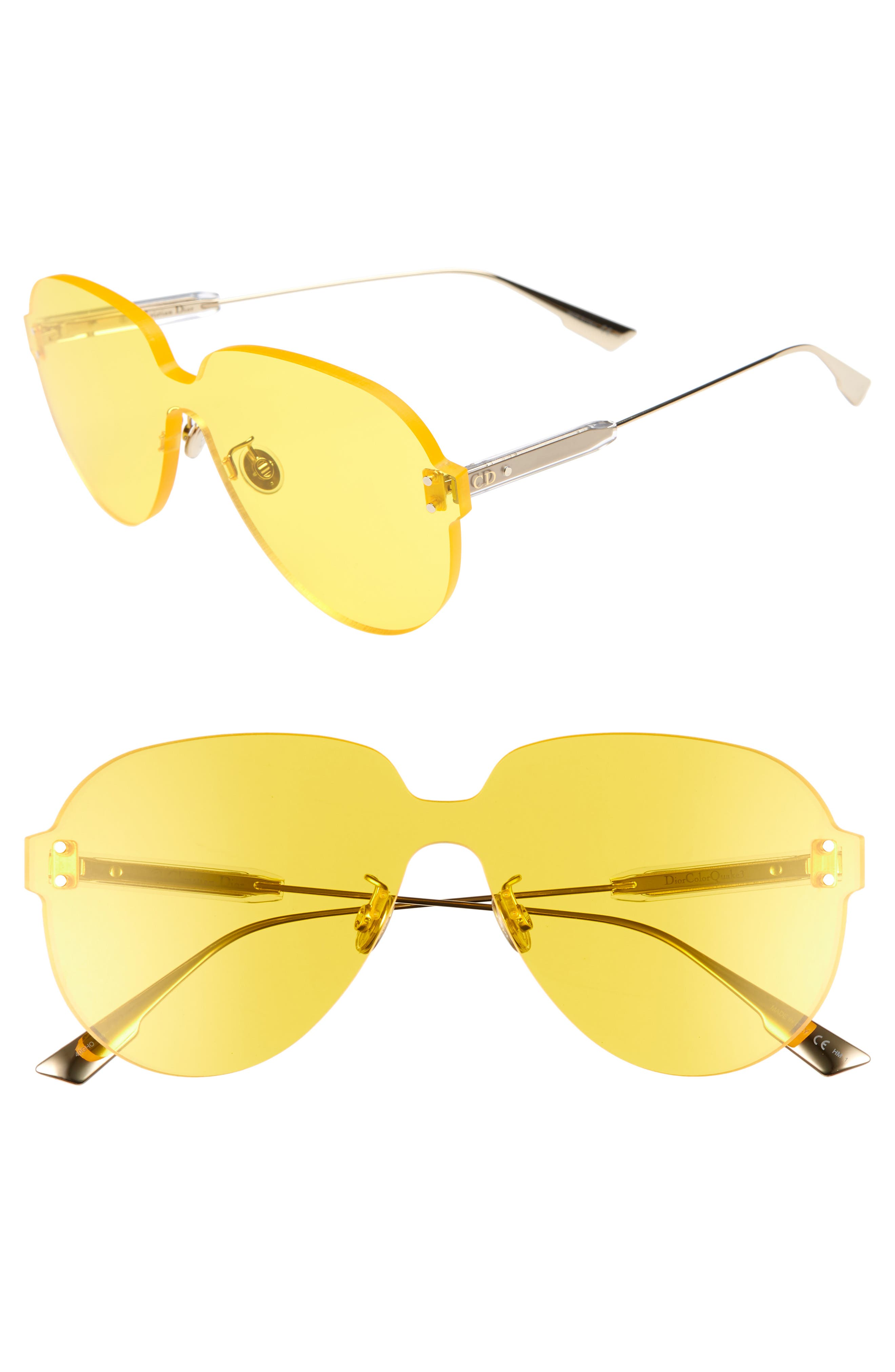 Christian Dior Quake3 14m Rimless Pilot Shield Sunglasses - Yellow