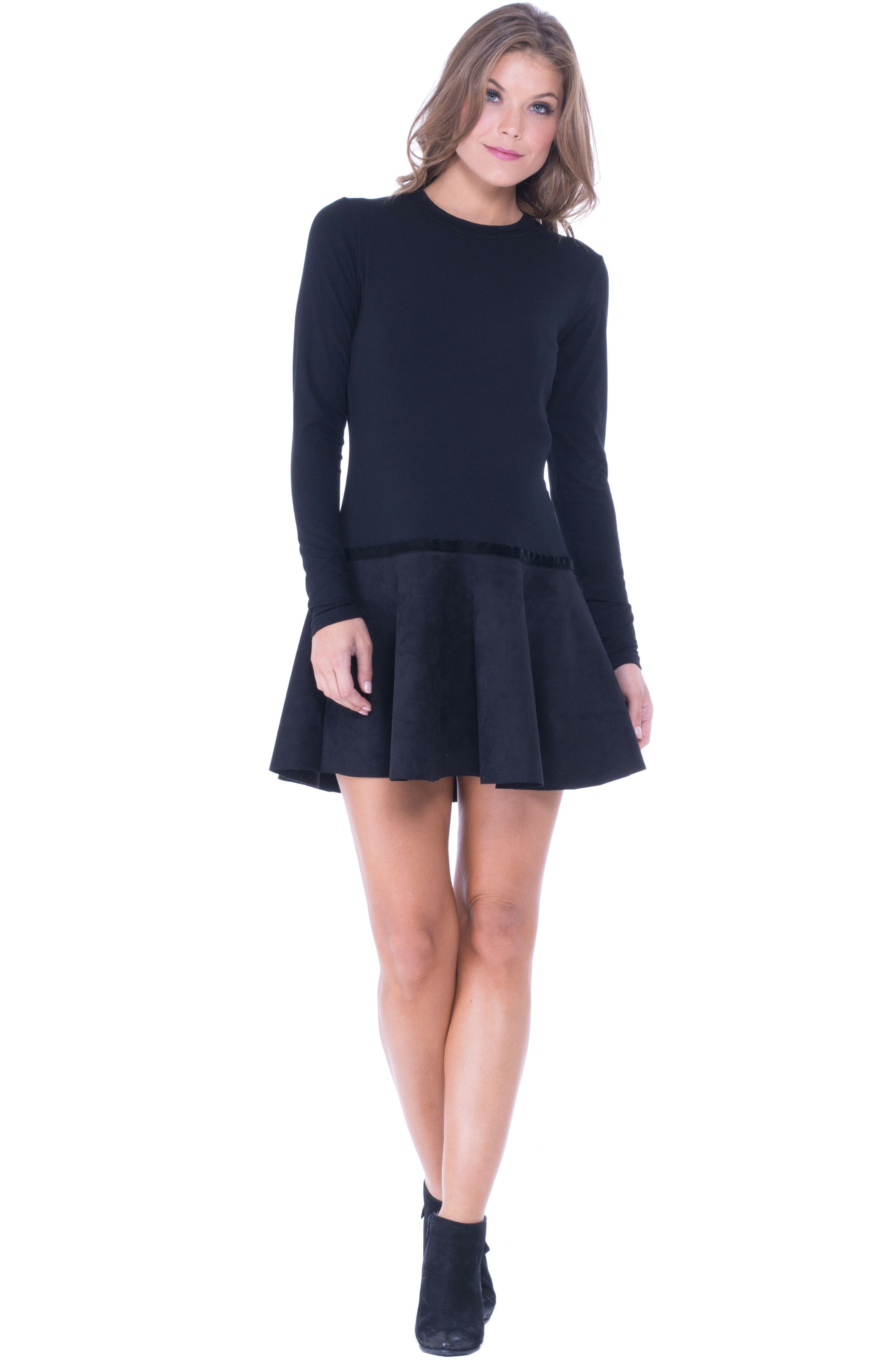 Faux Suede Skirt Maternity Skater Dress,                             Alternate thumbnail 4, color,                             BLACK