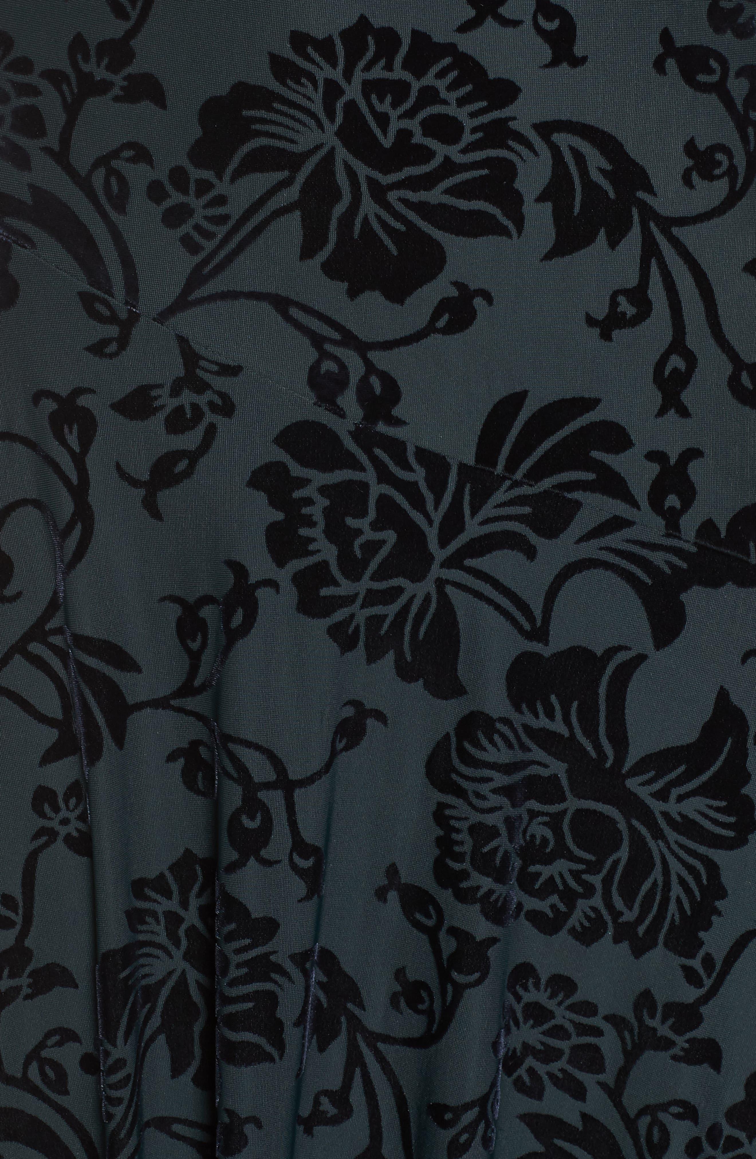 Burnout Velvet High/Low Dress,                             Alternate thumbnail 6, color,                             NAVY/ GREEN