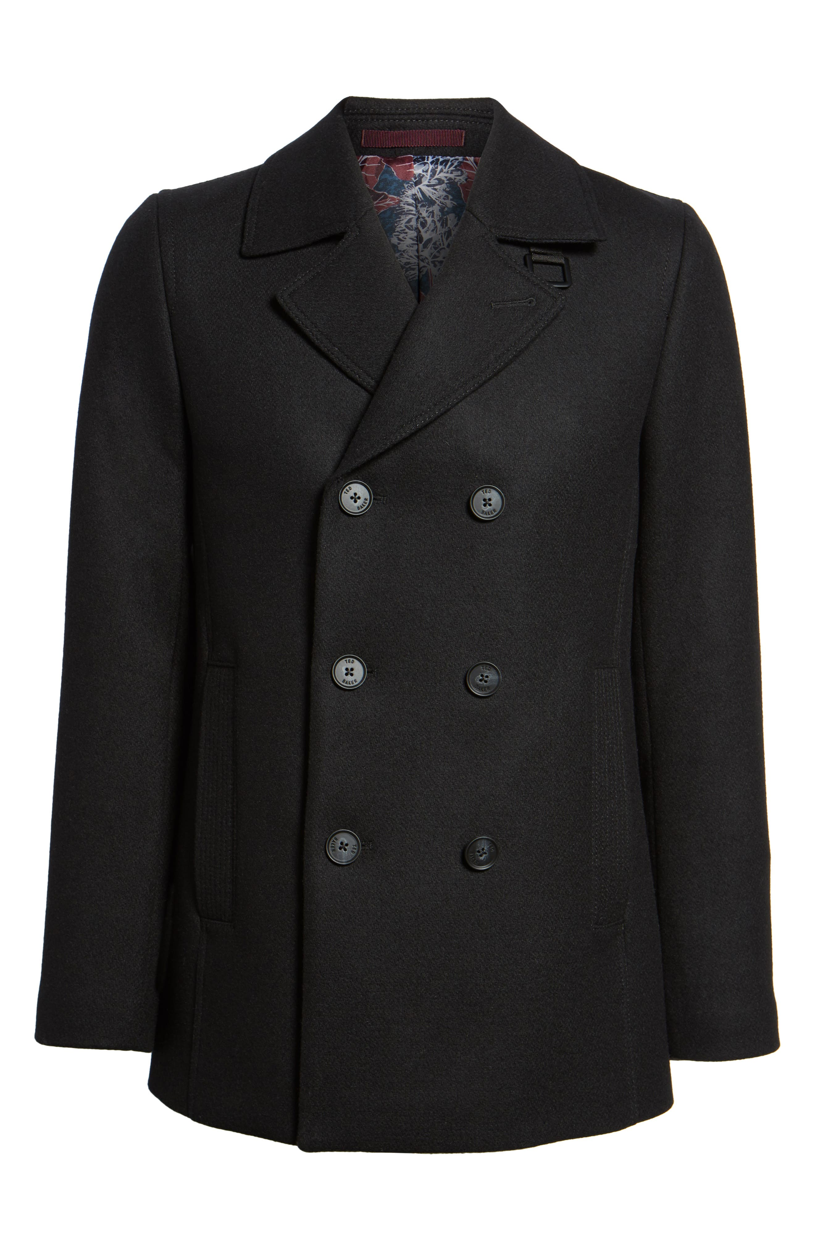 Zachary Trim Fit Double Breasted Peacoat,                             Alternate thumbnail 5, color,                             001