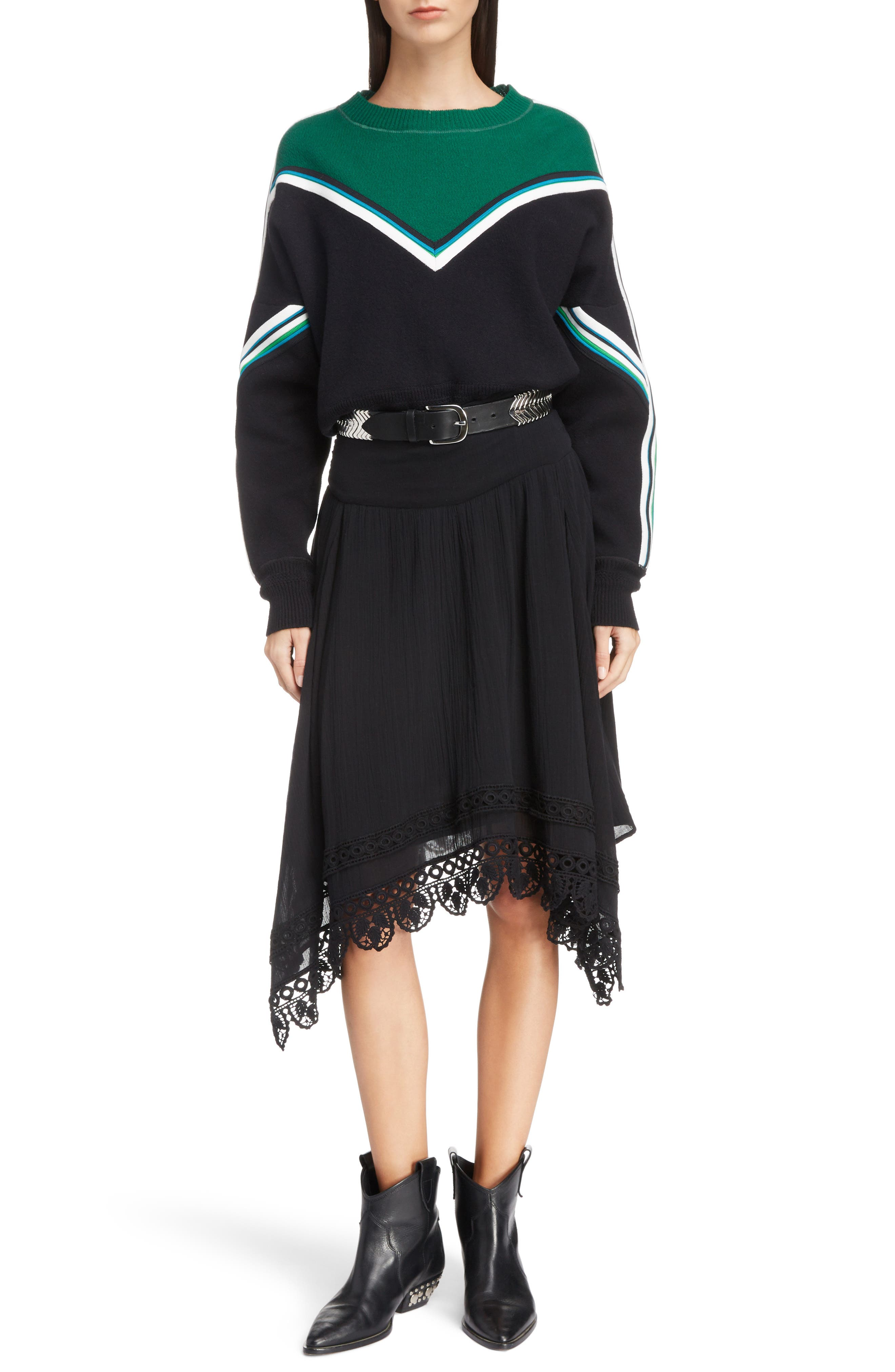 Isabel Marant Etoile Kimo Stripe Detail Sweater, Black