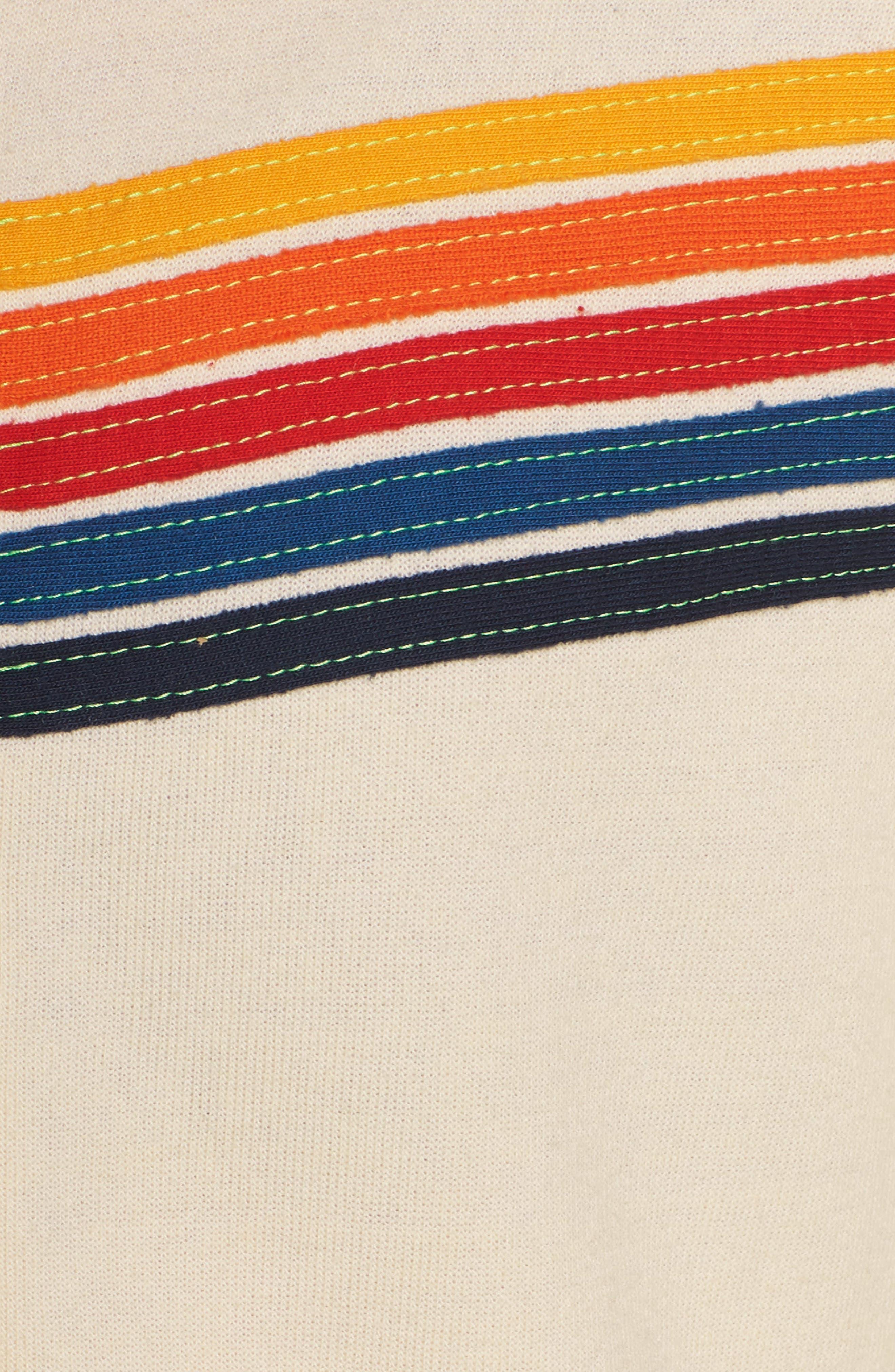 5-Stripe Zip Hoodie,                             Alternate thumbnail 6, color,                             VINTAGE WHITE