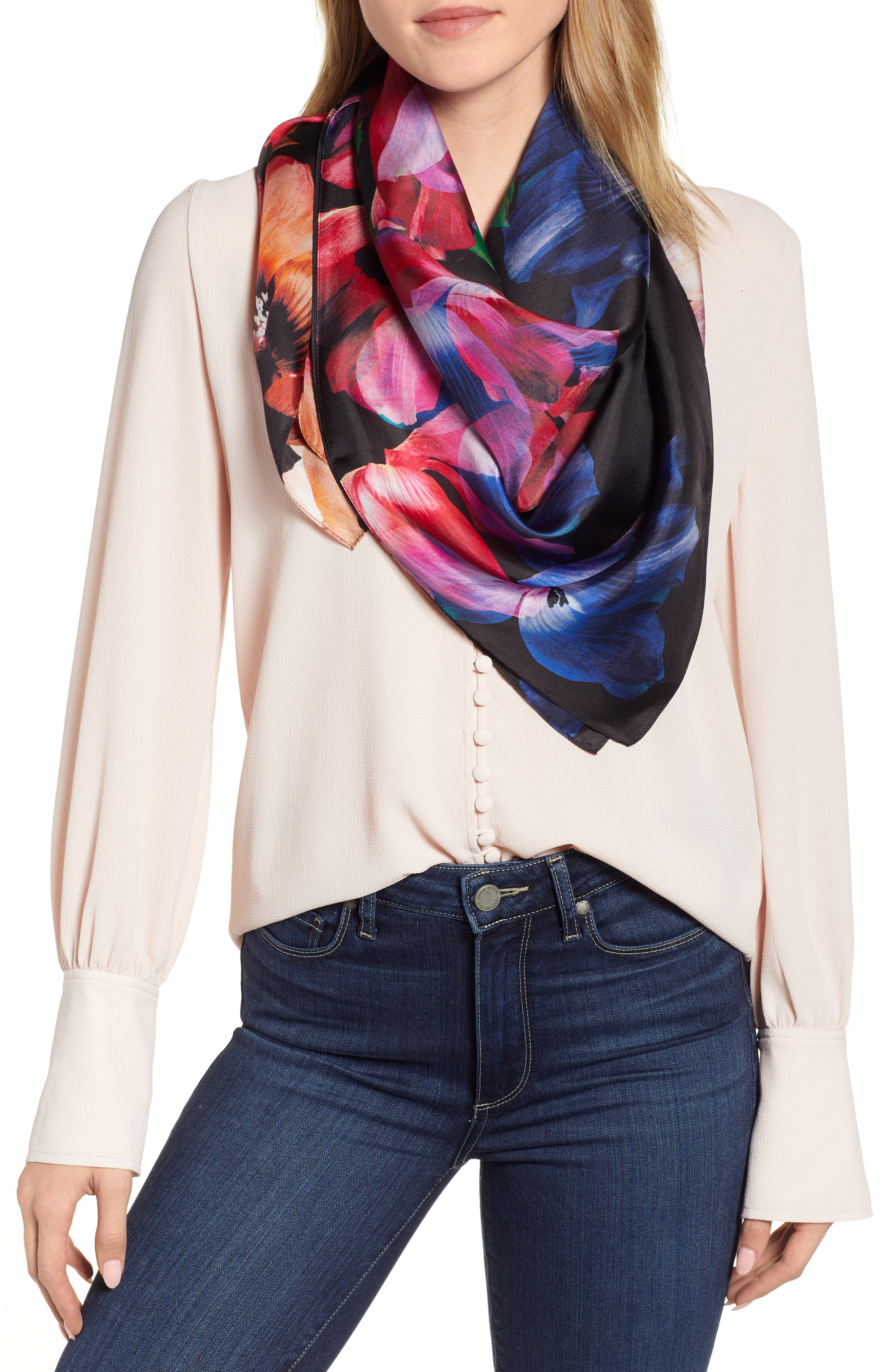 Floral Print Square Silk Scarf, Main, color, MULTI