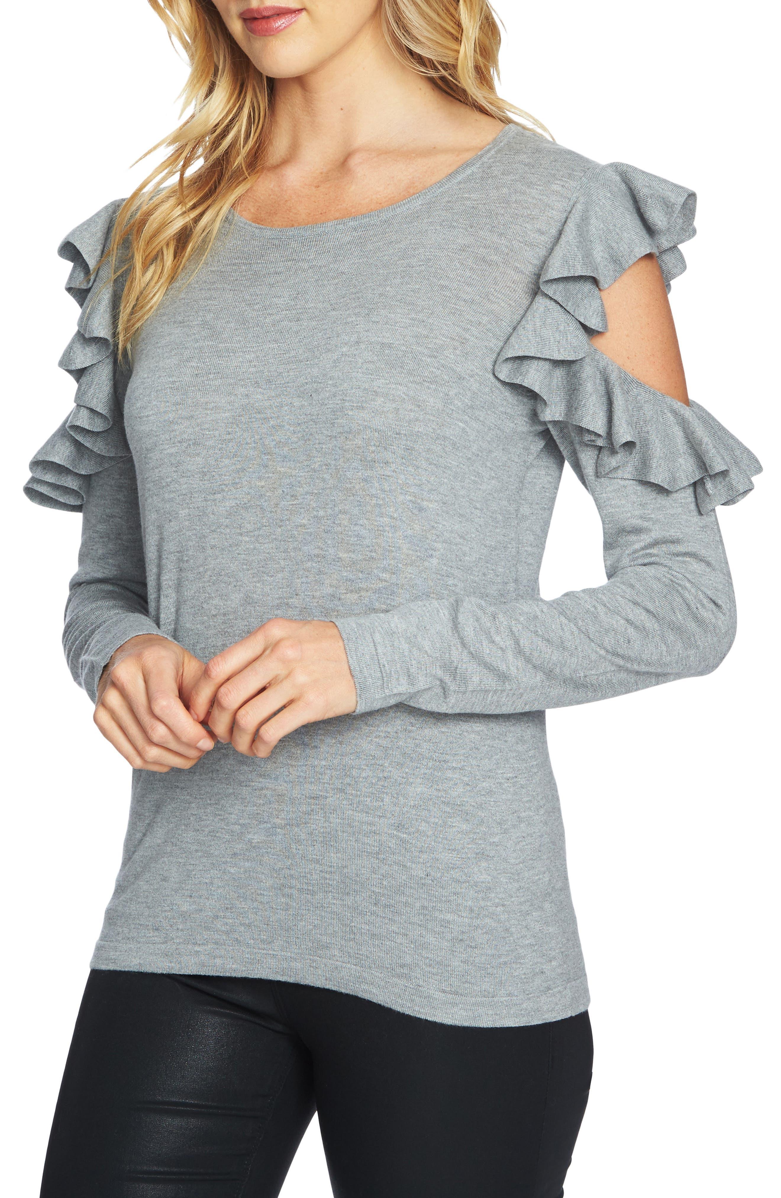 Ruffled Cold Shoulder Sweater,                             Main thumbnail 2, color,