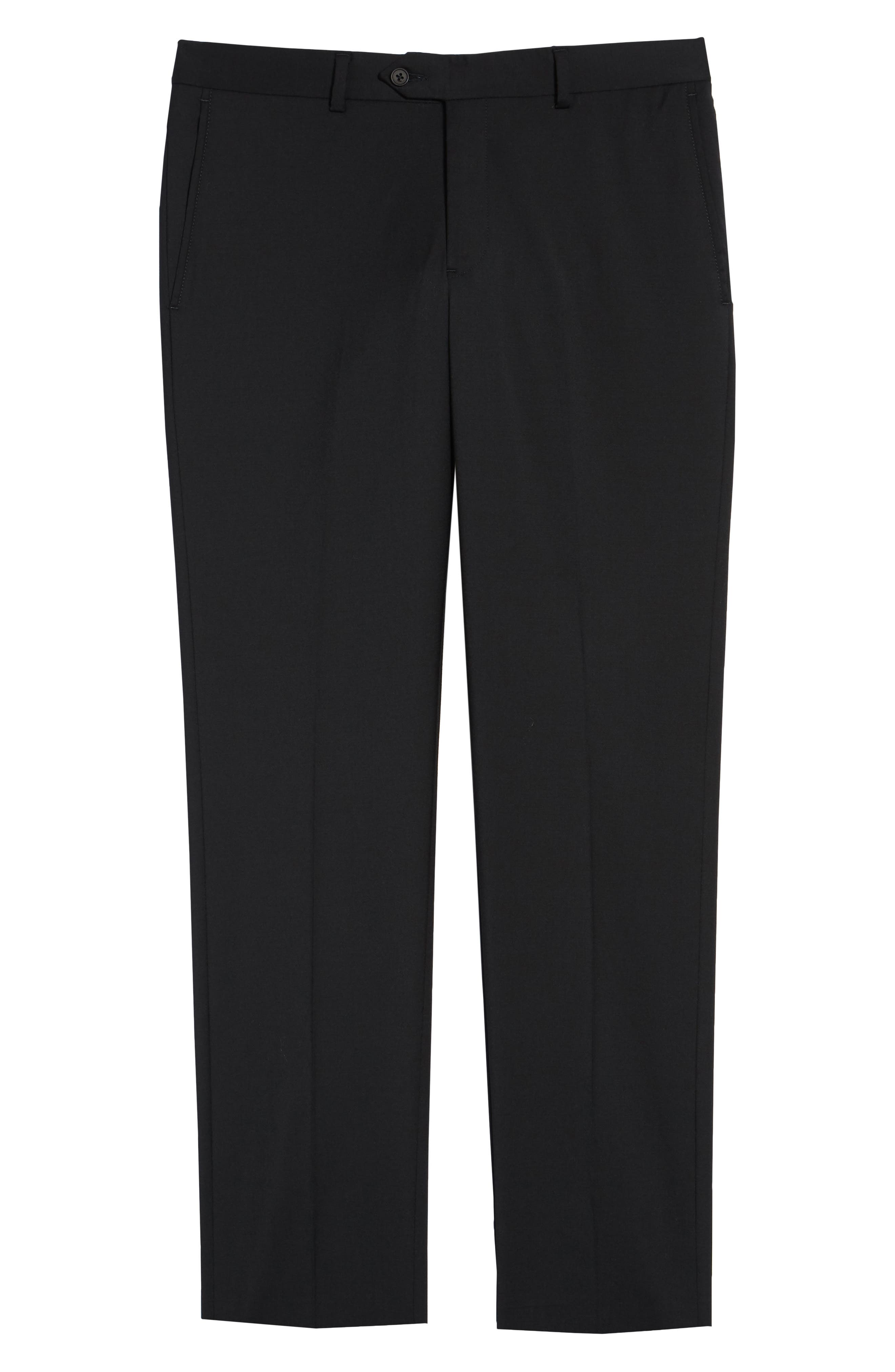 Trim Fit Stretch Wool Trousers,                             Alternate thumbnail 6, color,                             BLACK