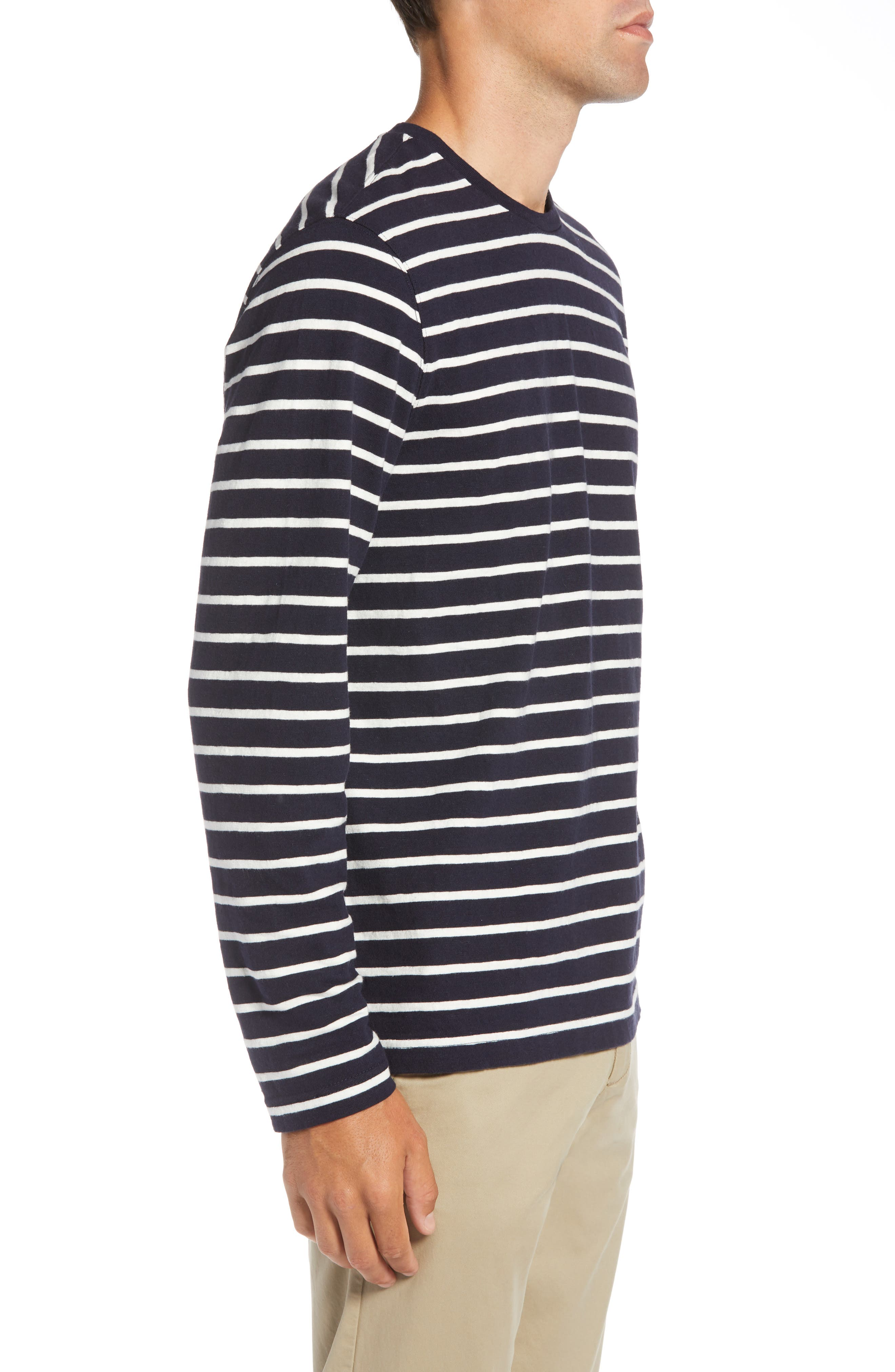 Stripe Long Sleeve T-Shirt,                             Alternate thumbnail 3, color,                             NAVY NIGHT ECRU STRIPE