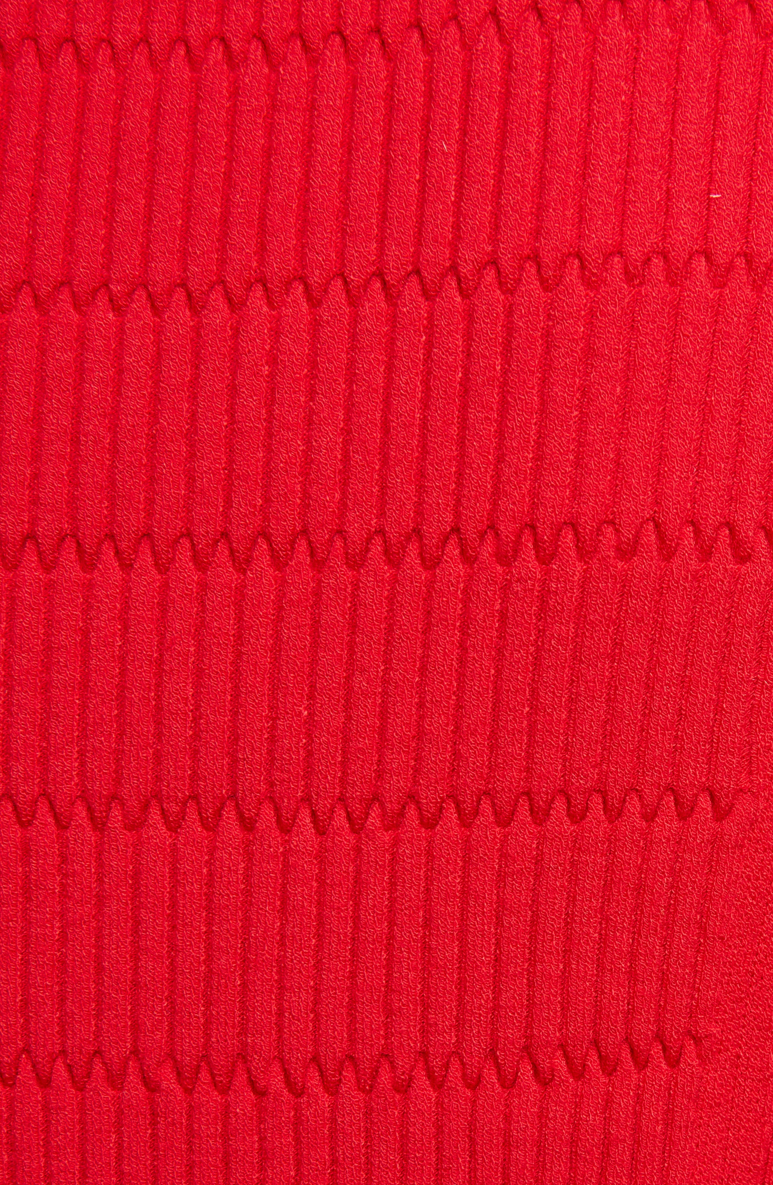 Textured Knit Dress,                             Alternate thumbnail 5, color,                             RED