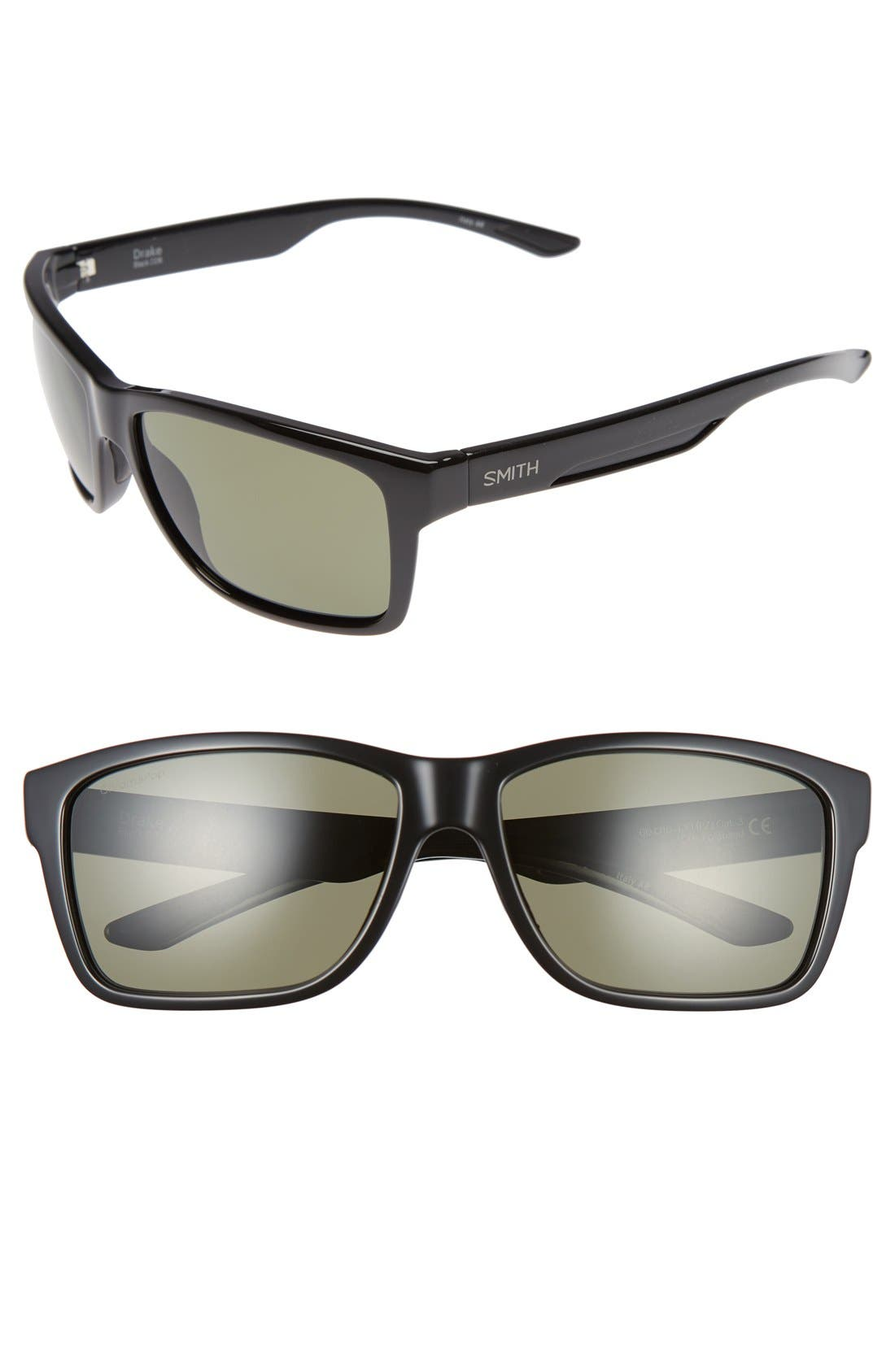 'Drake' 61mm Polarized Sunglasses,                             Main thumbnail 1, color,                             BLACK