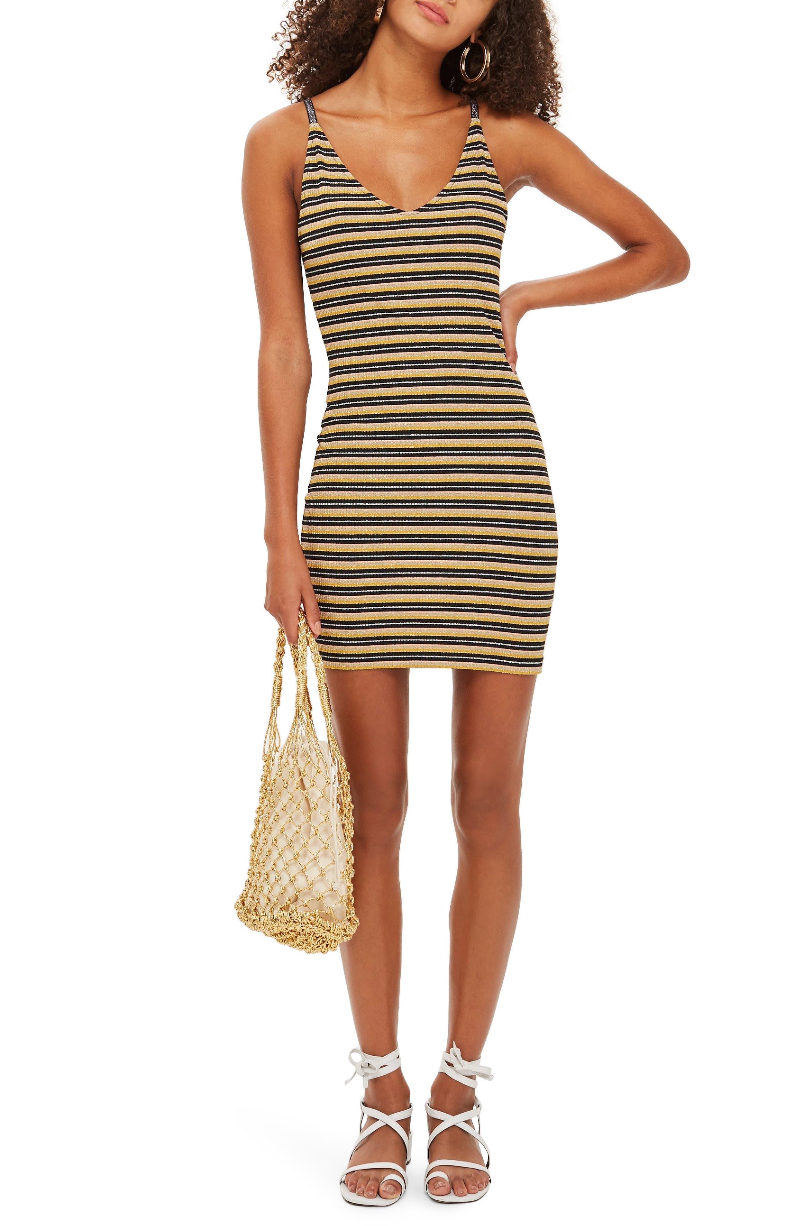 Metallic Stripe Body-Con Dress,                             Main thumbnail 1, color,                             BLACK MULTI