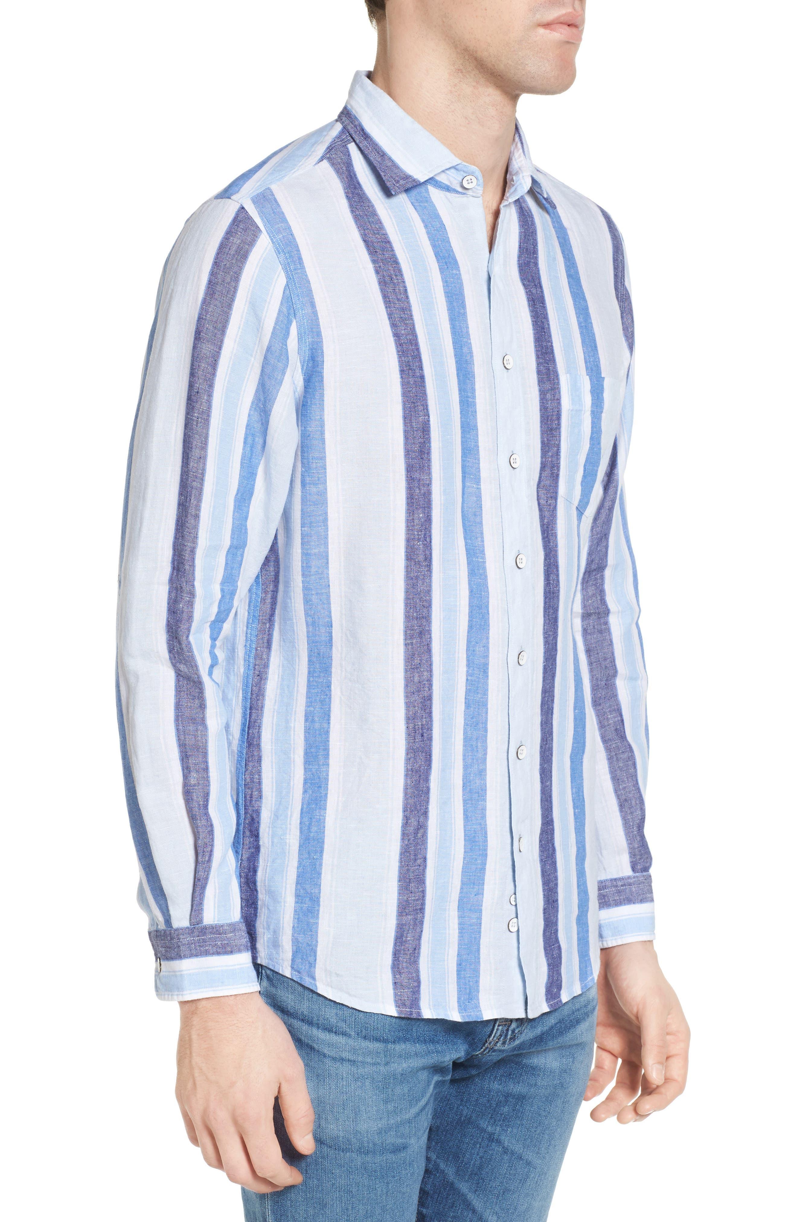 Glenavy Stripe Linen Sport Shirt,                             Alternate thumbnail 3, color,                             432