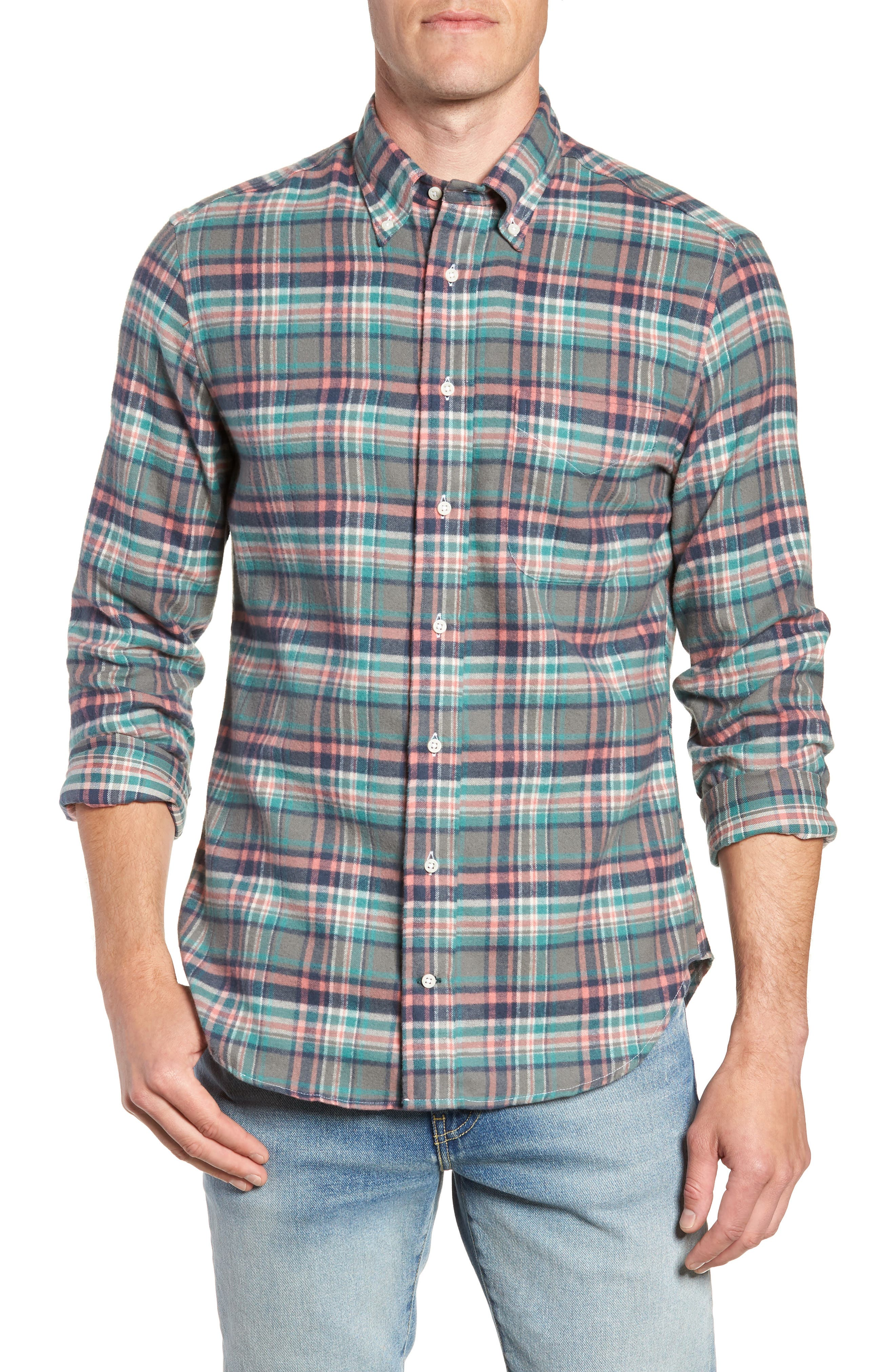 Regular Fit Candy Flannel Shirt,                             Main thumbnail 1, color,                             600