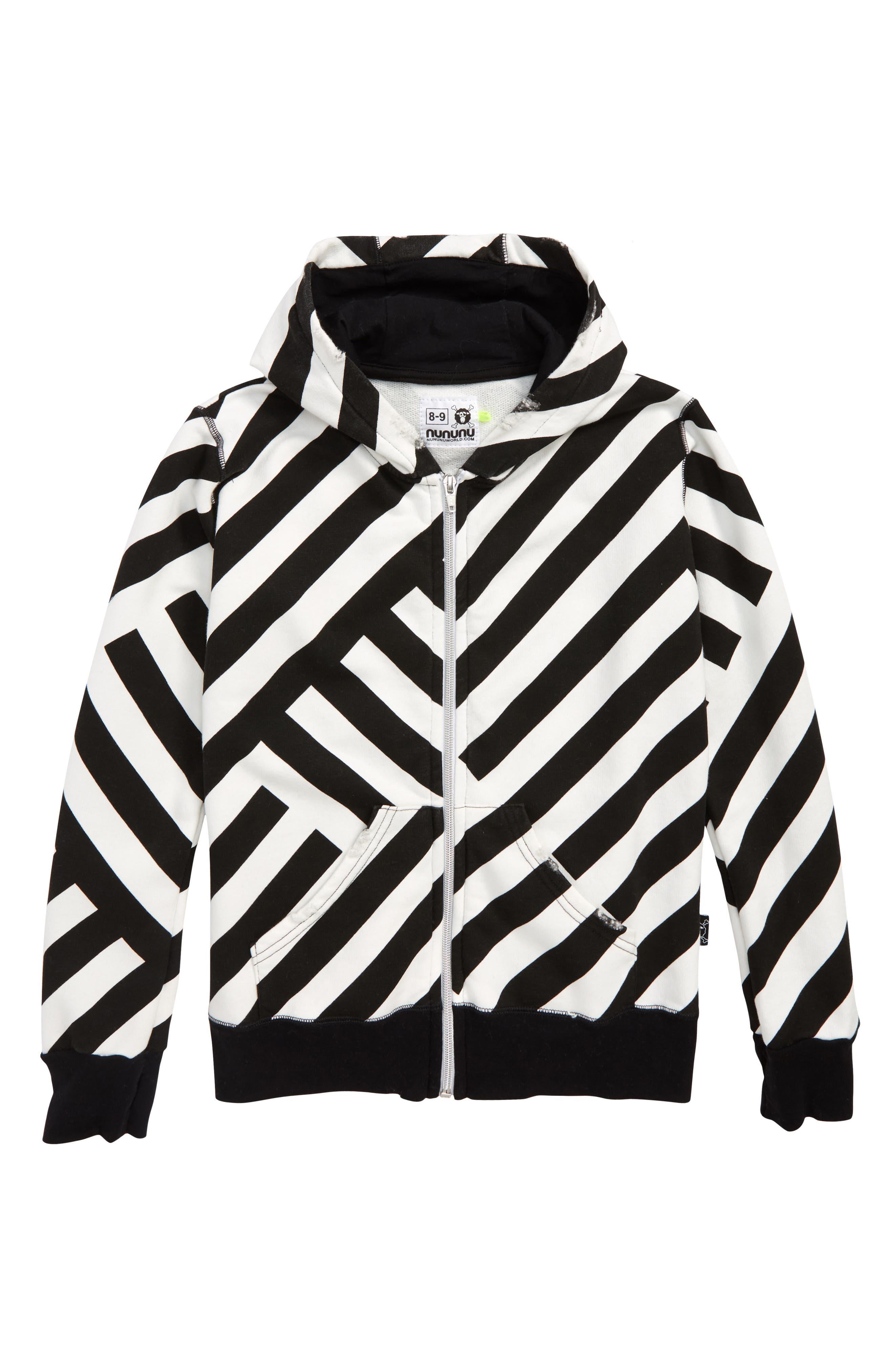 Stripe Full Zip Hoodie,                         Main,                         color, BLACK