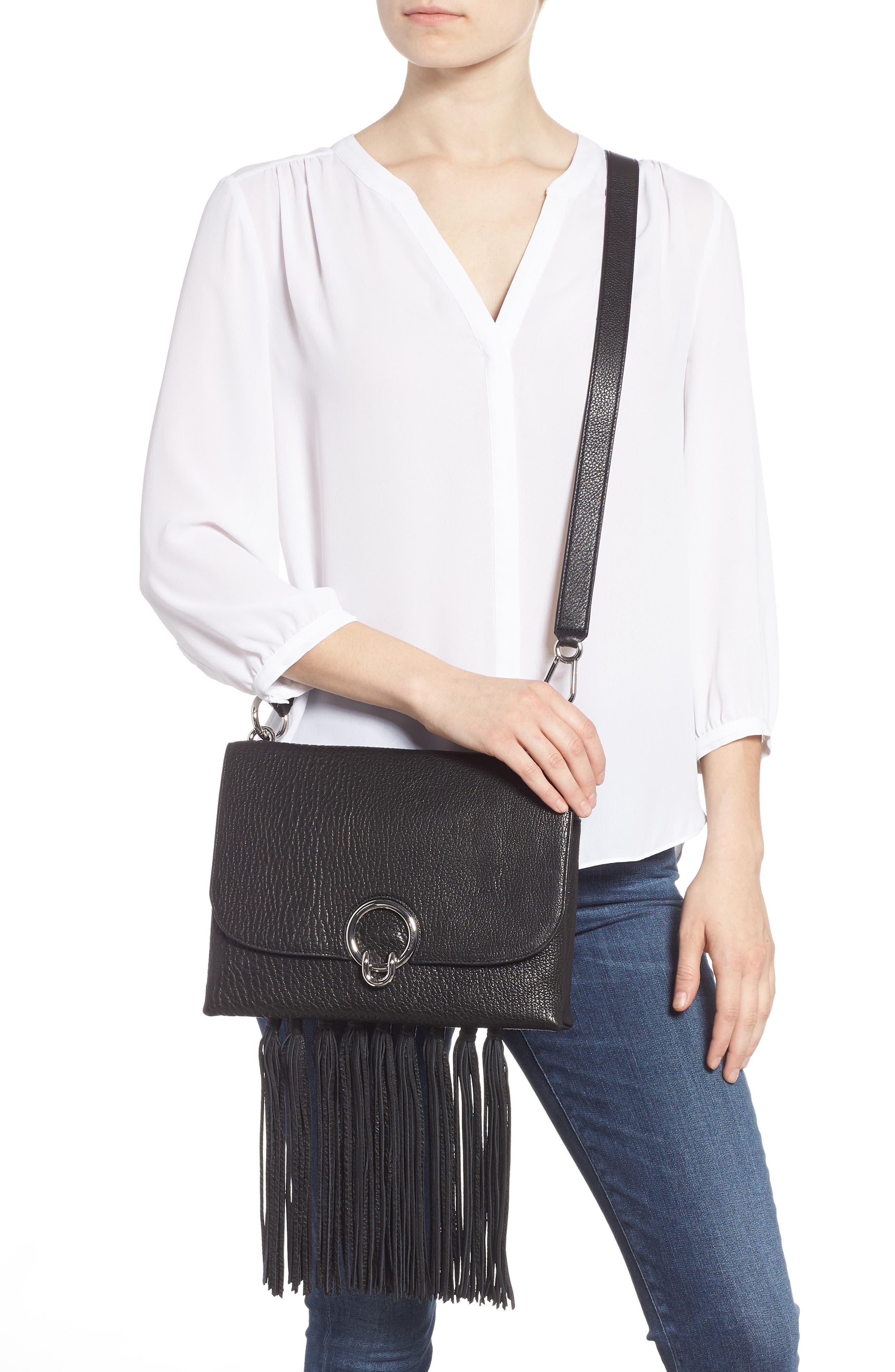 Isabel Fringe Leather Shoulder Bag,                             Alternate thumbnail 3, color,                             001