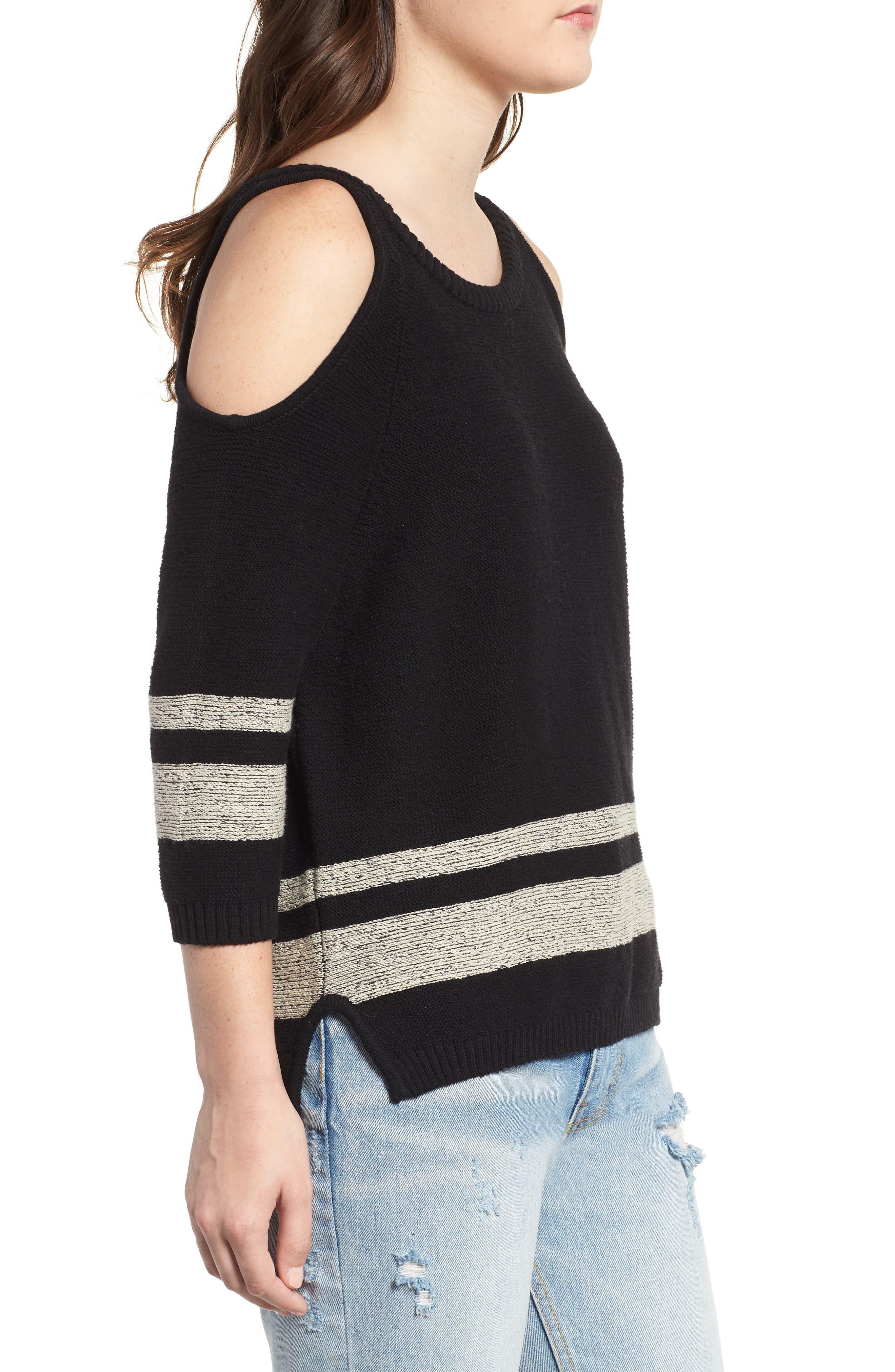 Marked Cold Shoulder Sweater,                             Alternate thumbnail 3, color,                             BLACK