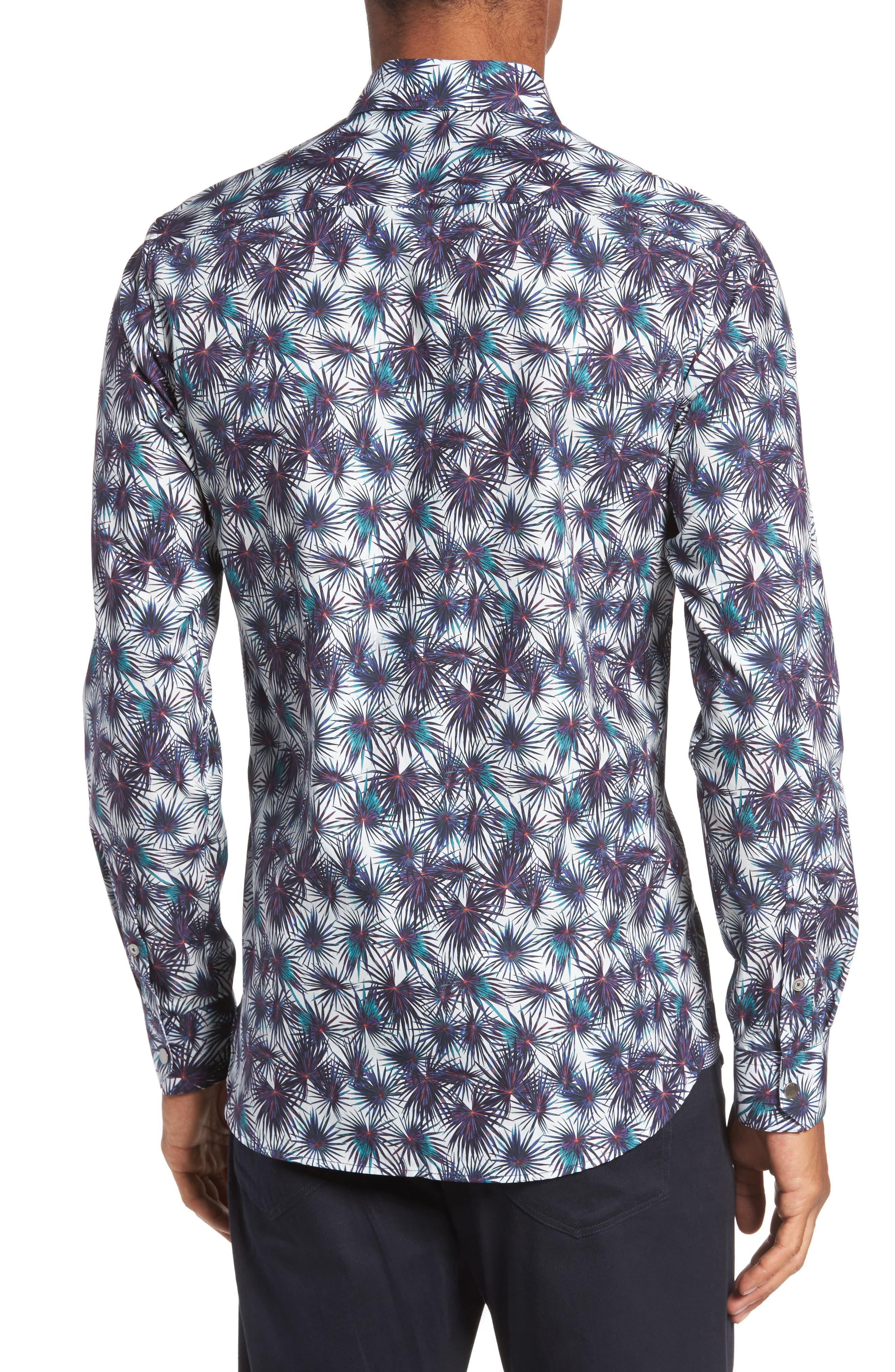 Modern Slim Fit Palm Print Sport Shirt,                             Alternate thumbnail 2, color,                             110