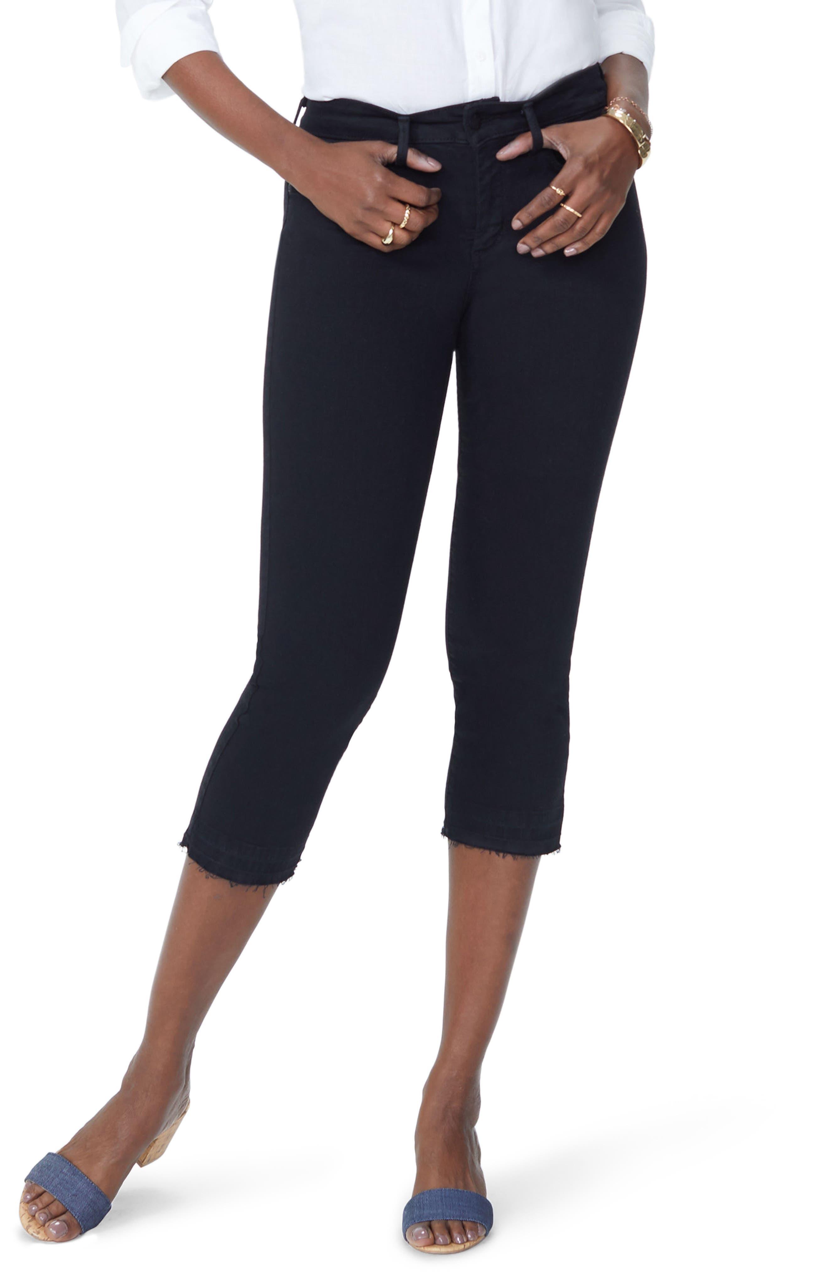 Nydj Release Hem Capri Skinny Jeans, Black