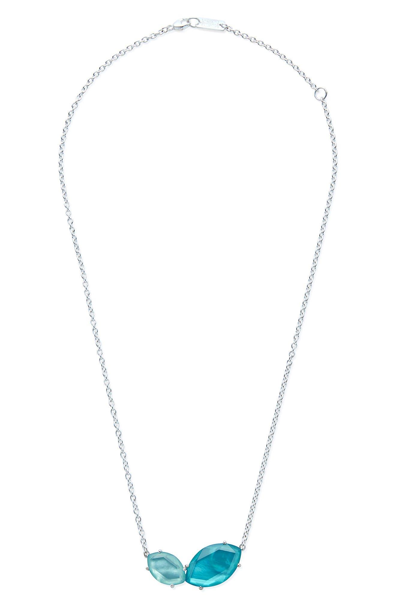 Wonderland 2-Stone Pendant Necklace,                             Main thumbnail 1, color,                             BLUE