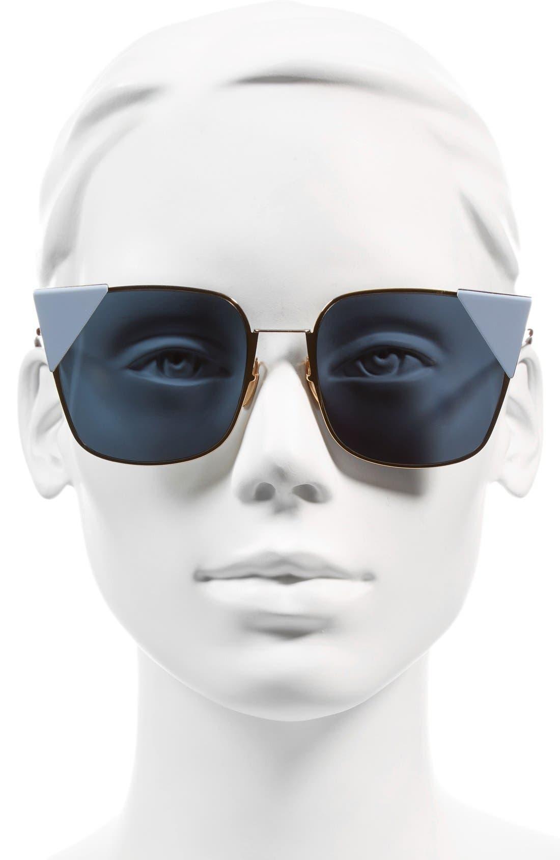 55mm Tipped Cat Eye Sunglasses,                             Alternate thumbnail 6, color,                             ROSE METALLIC GOLD