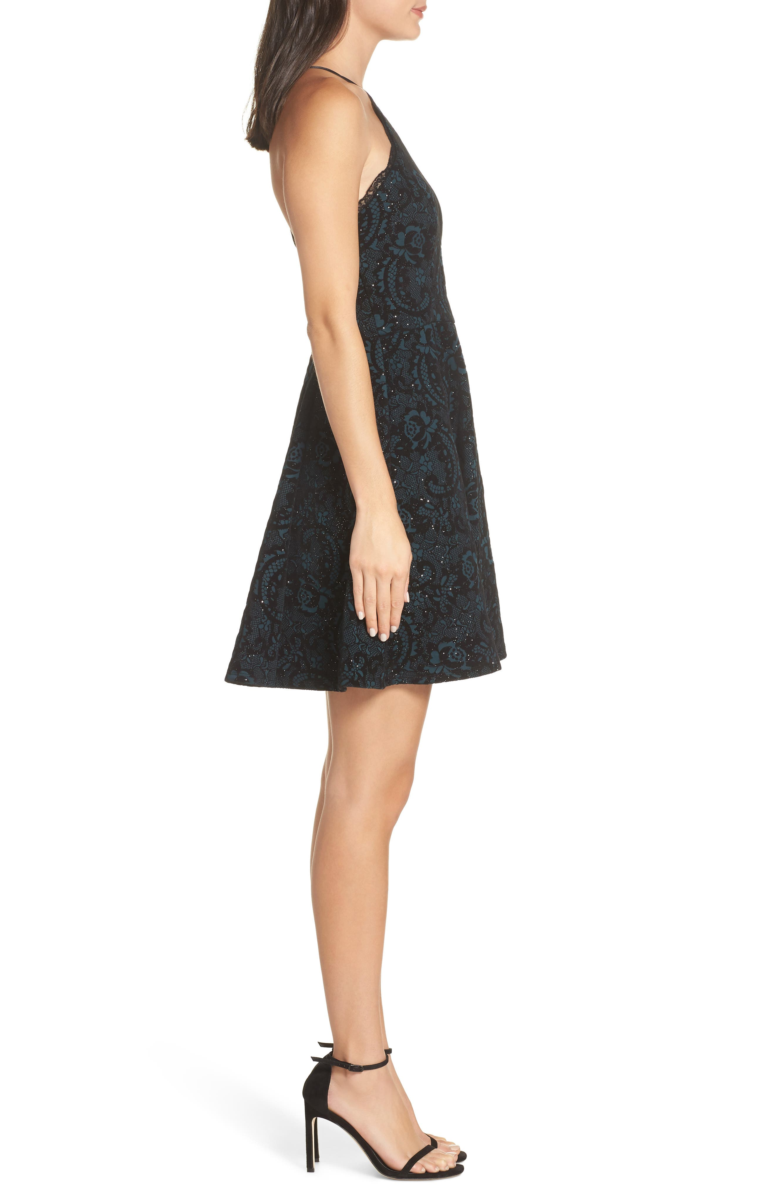 Flocked Fit & Flare Party Dress,                             Alternate thumbnail 3, color,                             BLACK/ TEAL