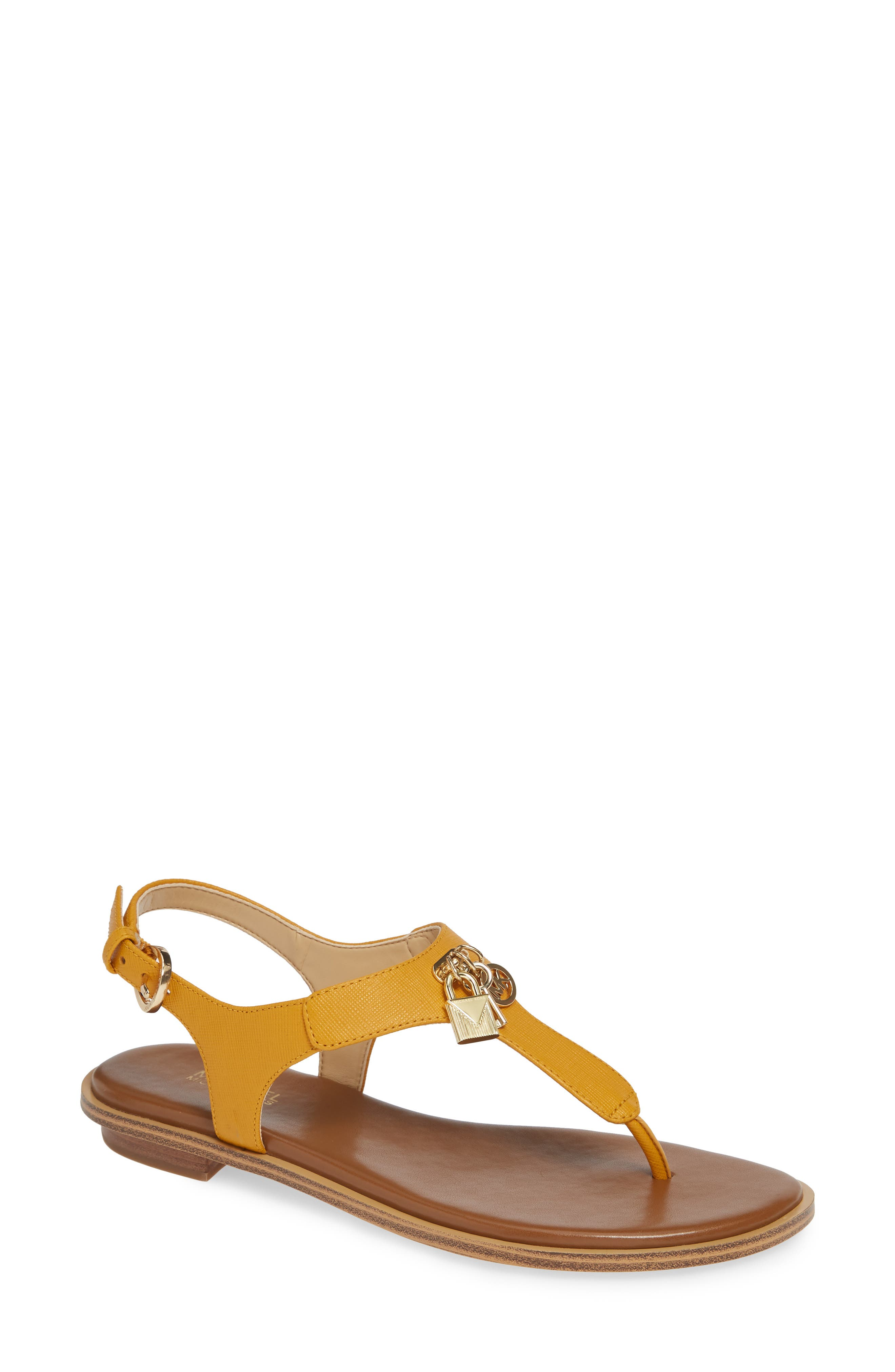Suki T-Strap Charm Sandal,                         Main,                         color, MARIGOLD LEATHER