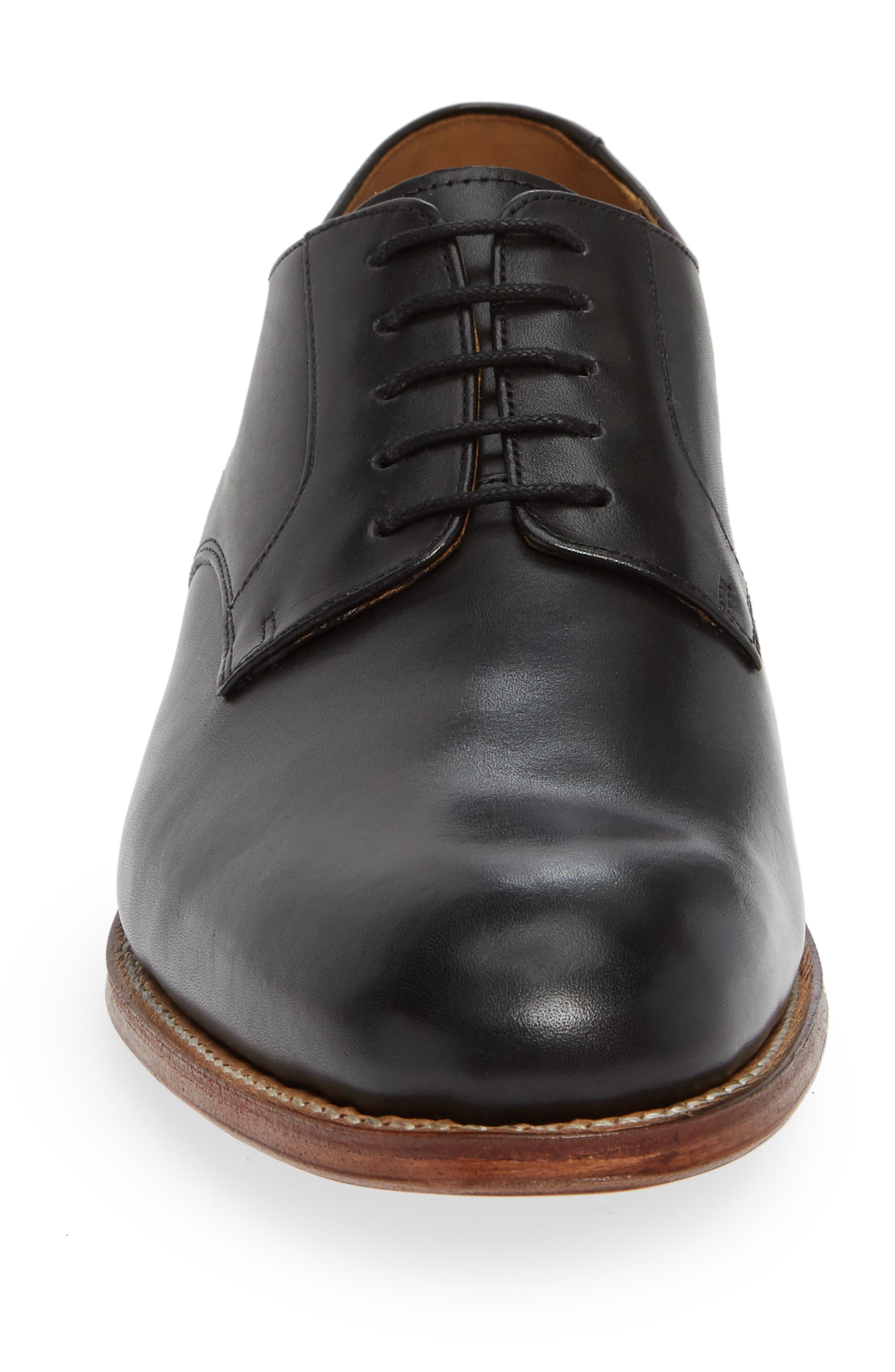 Liam Plain Toe Derby,                             Alternate thumbnail 4, color,                             BLACK