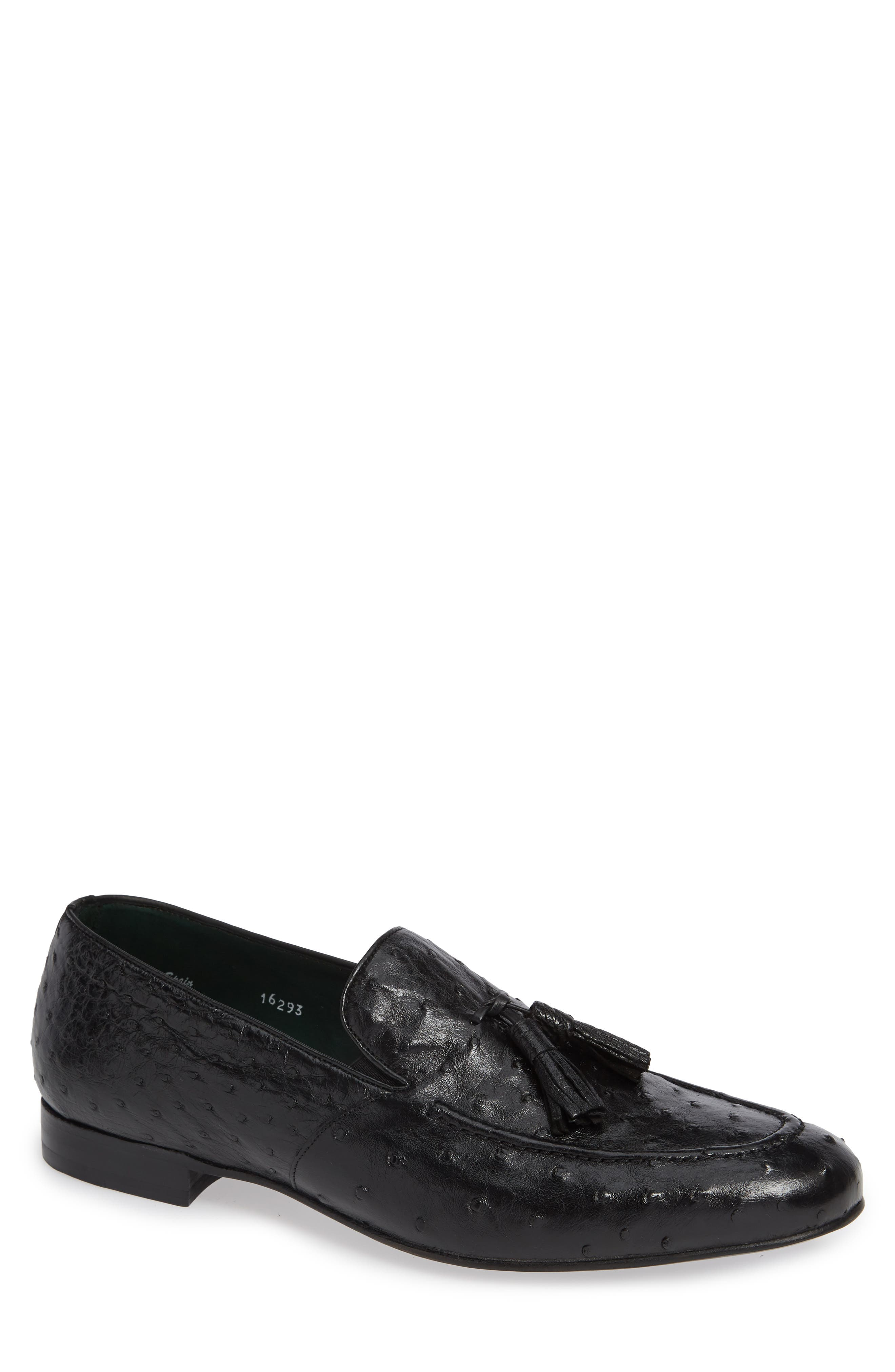 Conte Tassel Ostrich Leather Loafer,                         Main,                         color, BLACK LEATHER