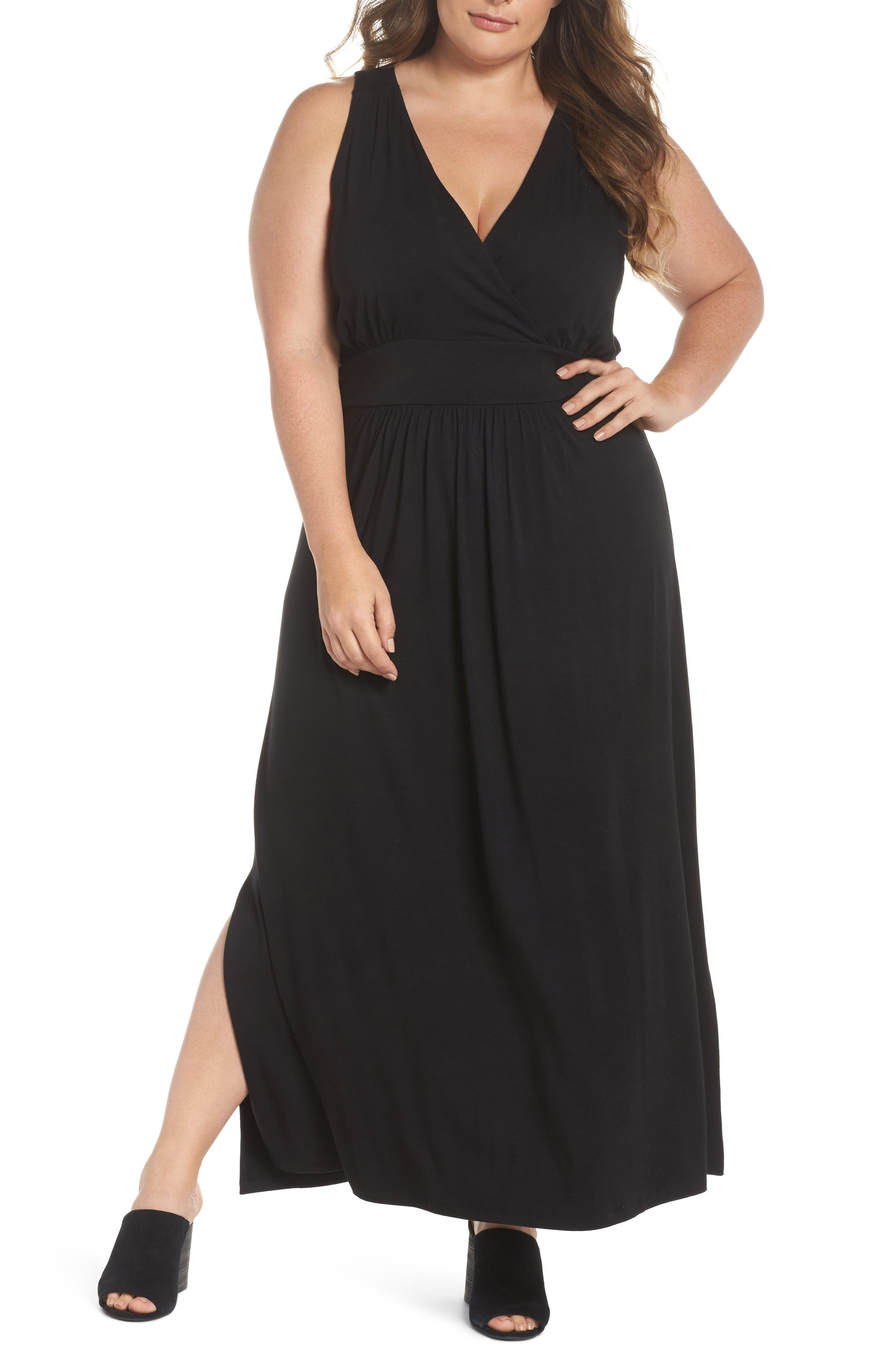 Knit Maxi Dress,                             Main thumbnail 1, color,                             001
